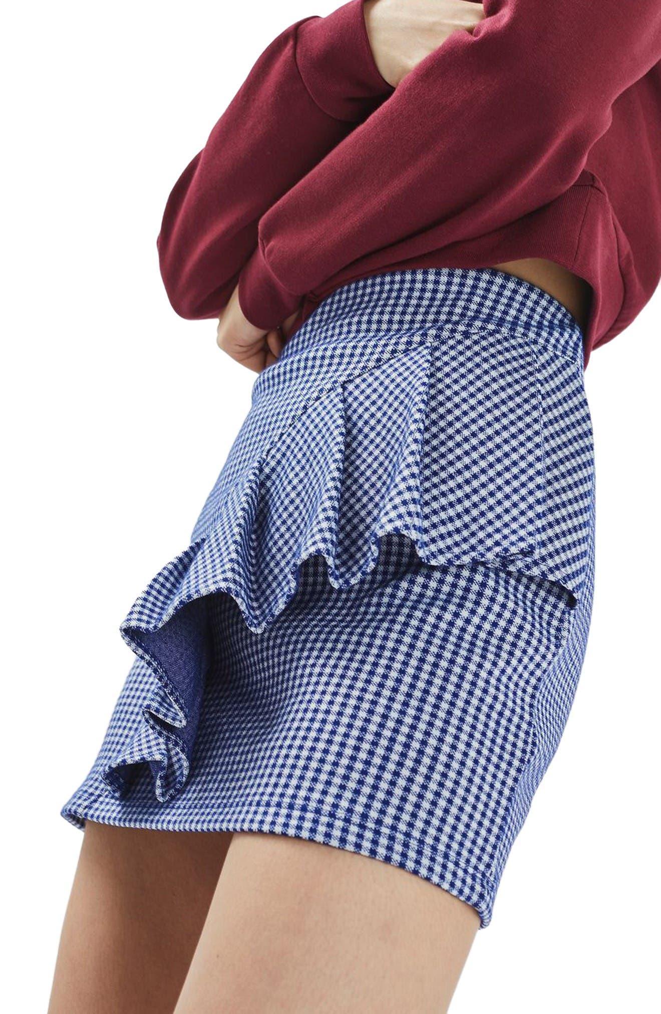 Alternate Image 4  - Topshop Gingham Ruffle Miniskirt
