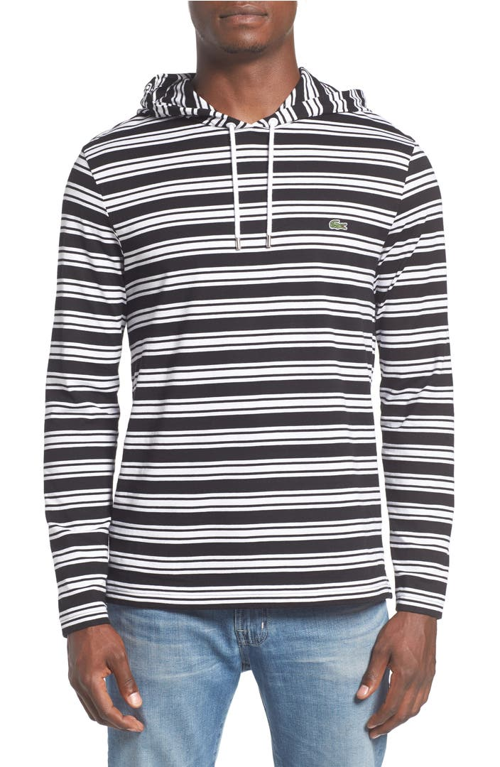 lacoste stripe long sleeve hooded t shirt nordstrom