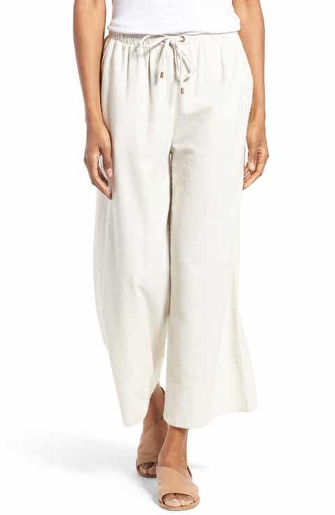 Eileen Fisher Silk Noil Wide Leg Pants (Regular   Petite)