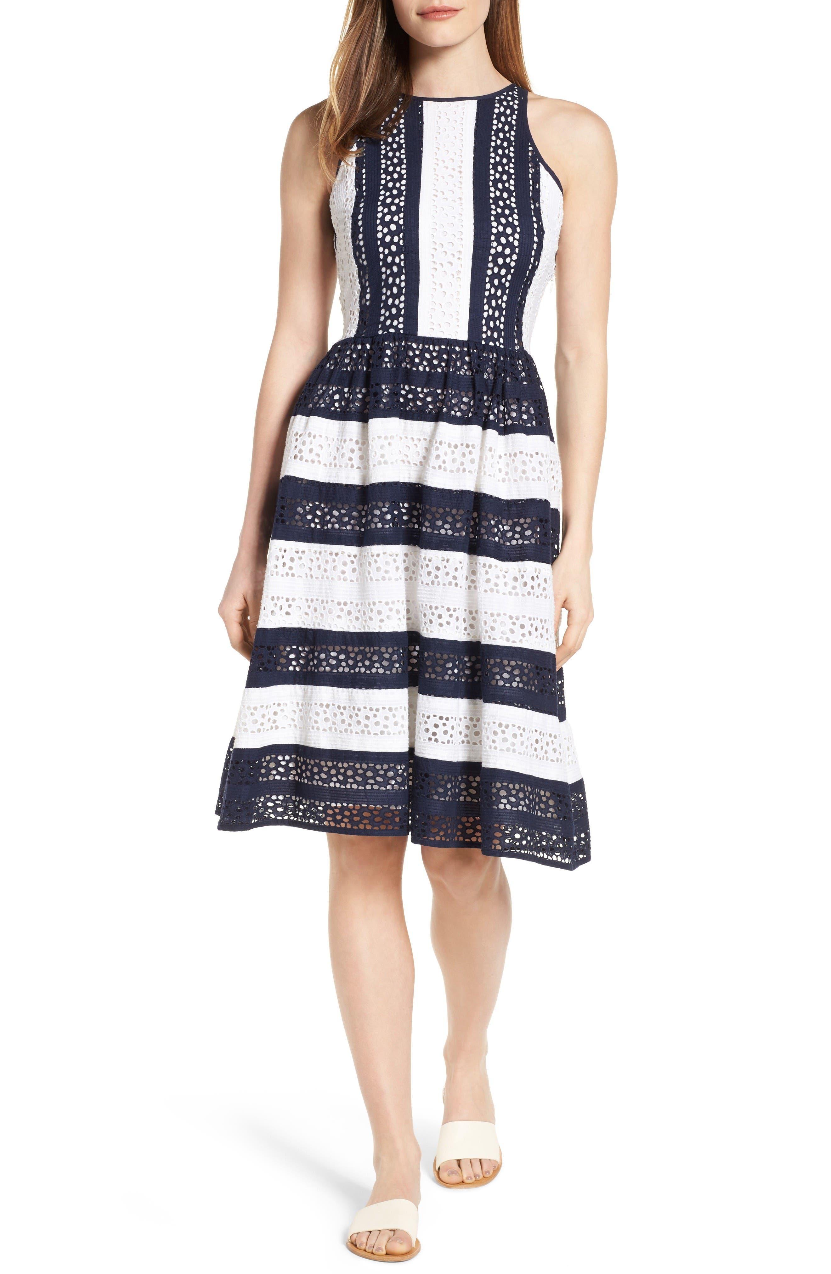 Alternate Image 1 Selected - MICHAEL Michael Kors Stripe Eyelet Fit & Flare Dress