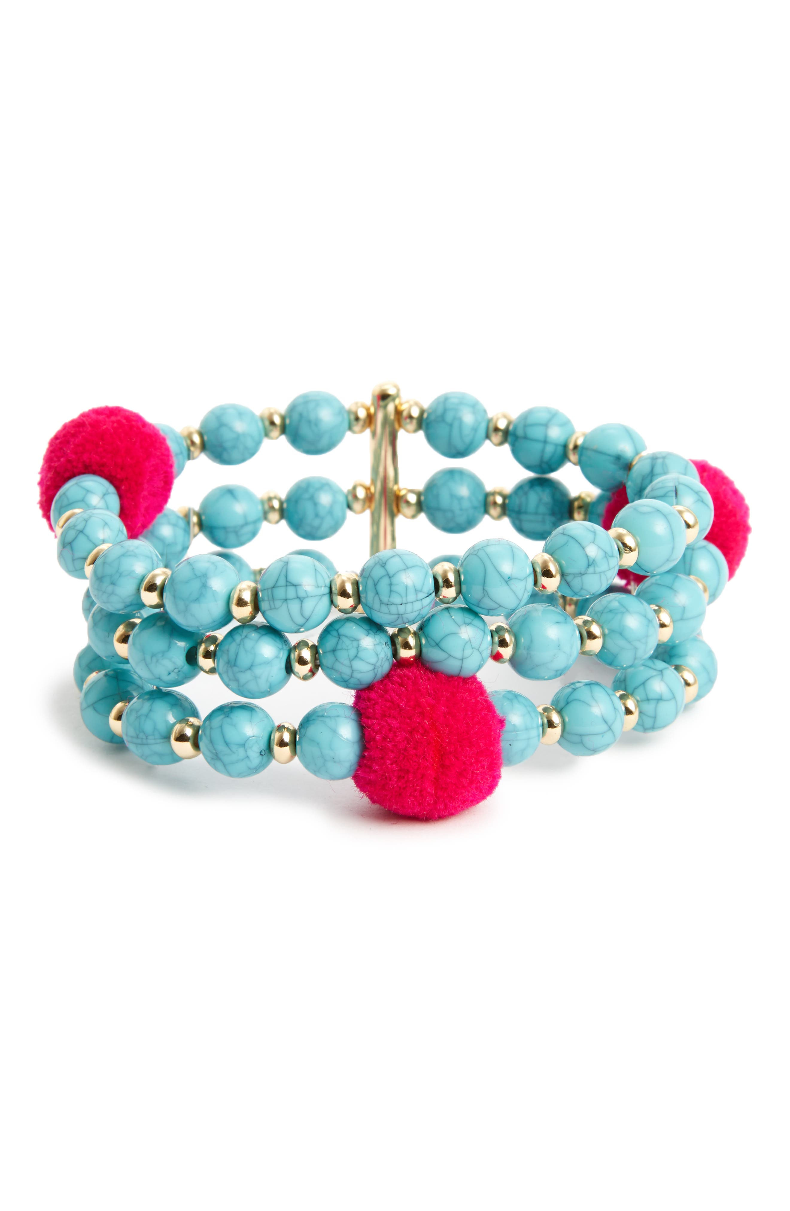 Alternate Image 1 Selected - BaubleBar Grenada Pompom Stretch Bracelet