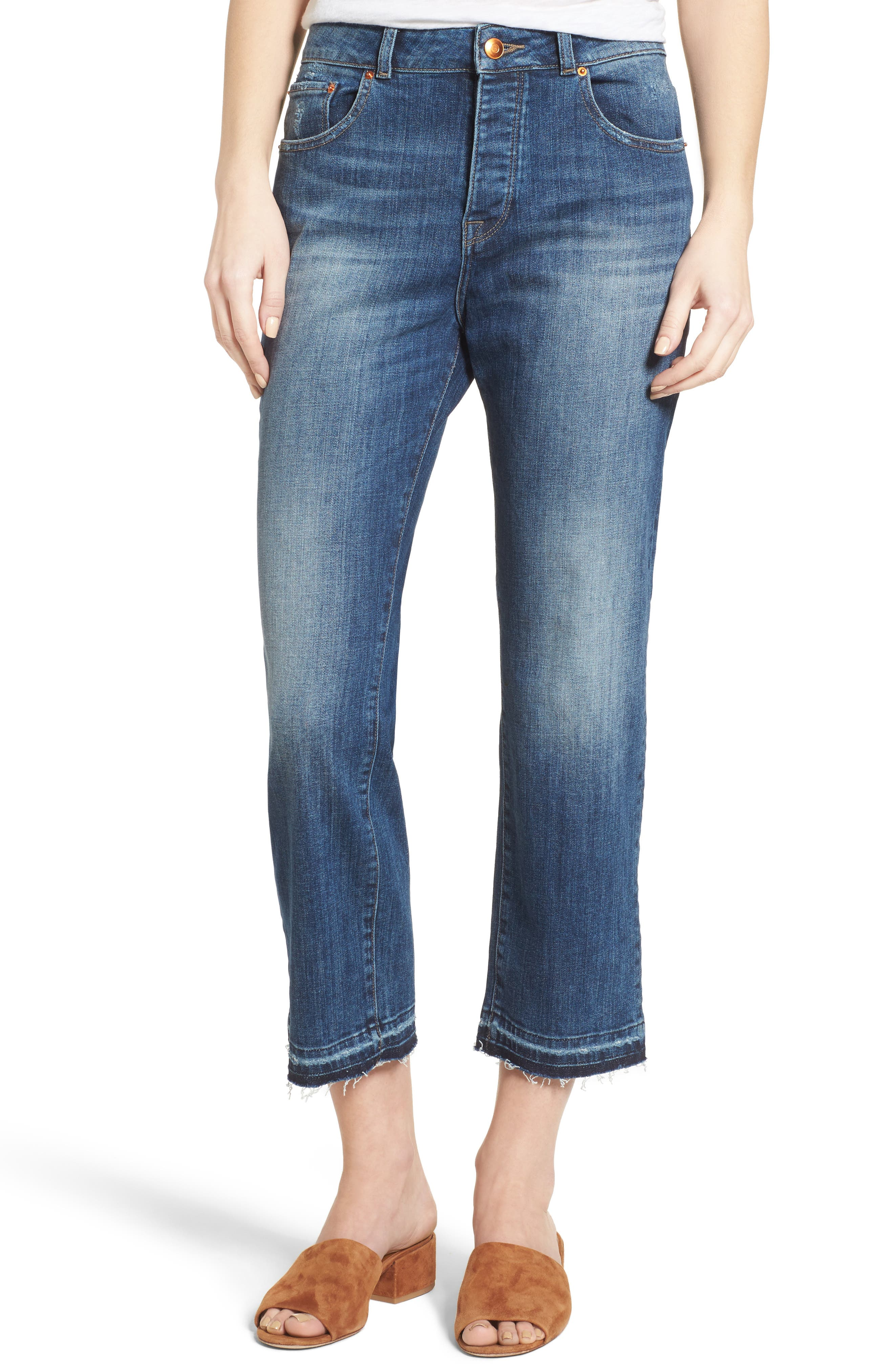 DL1961 Patti High Waist Crop Straight Leg Jeans (Staggered)