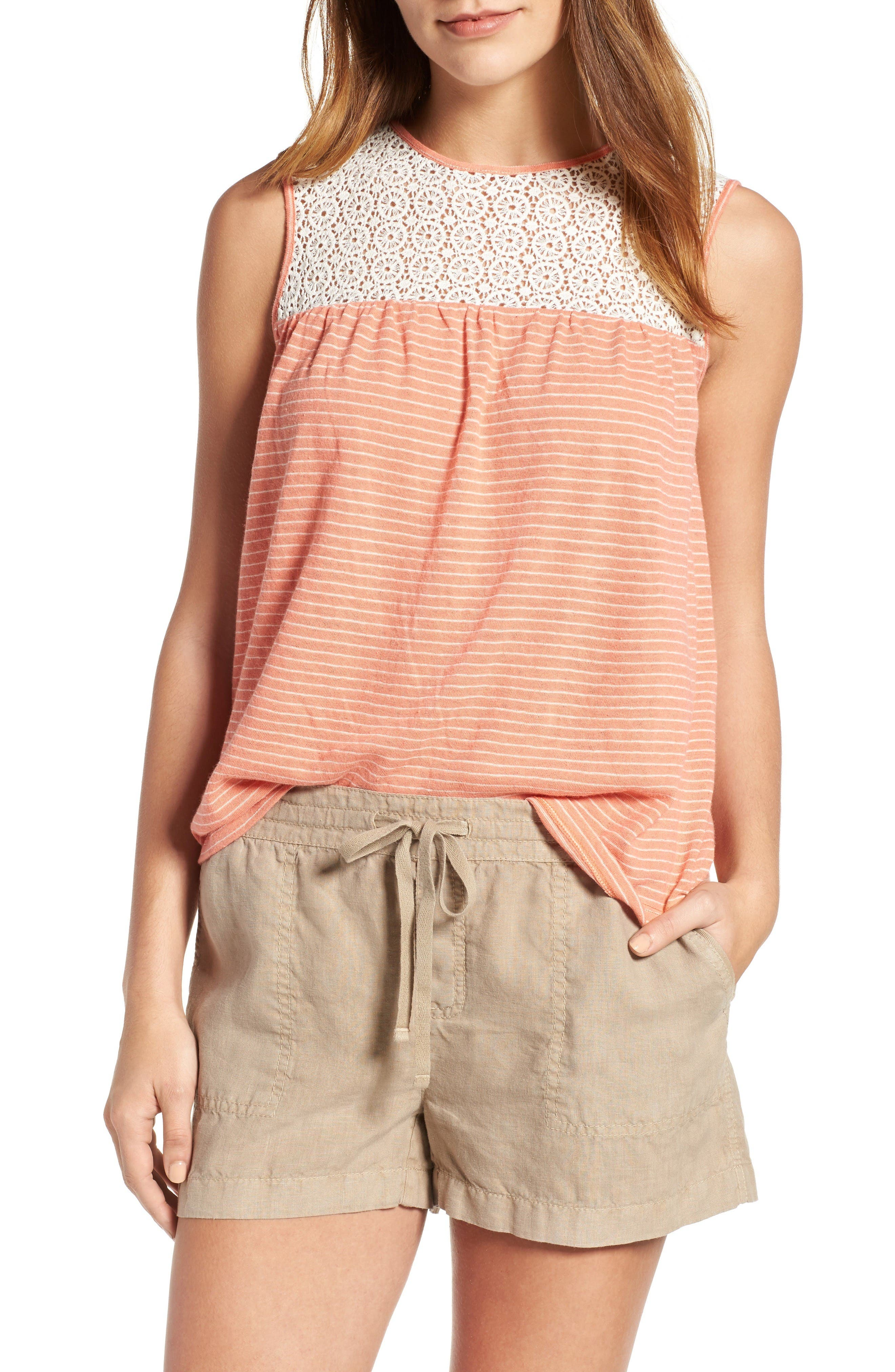 Caslon® Lace Yoke Tank (Regular & Petite)