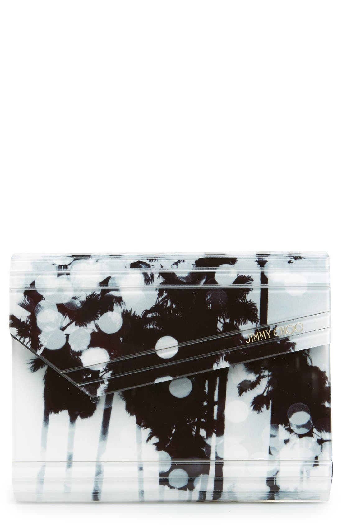 Main Image - Jimmy Choo 'Candy - Palm Tree' Asymmetrical Flap Acrylic Clutch