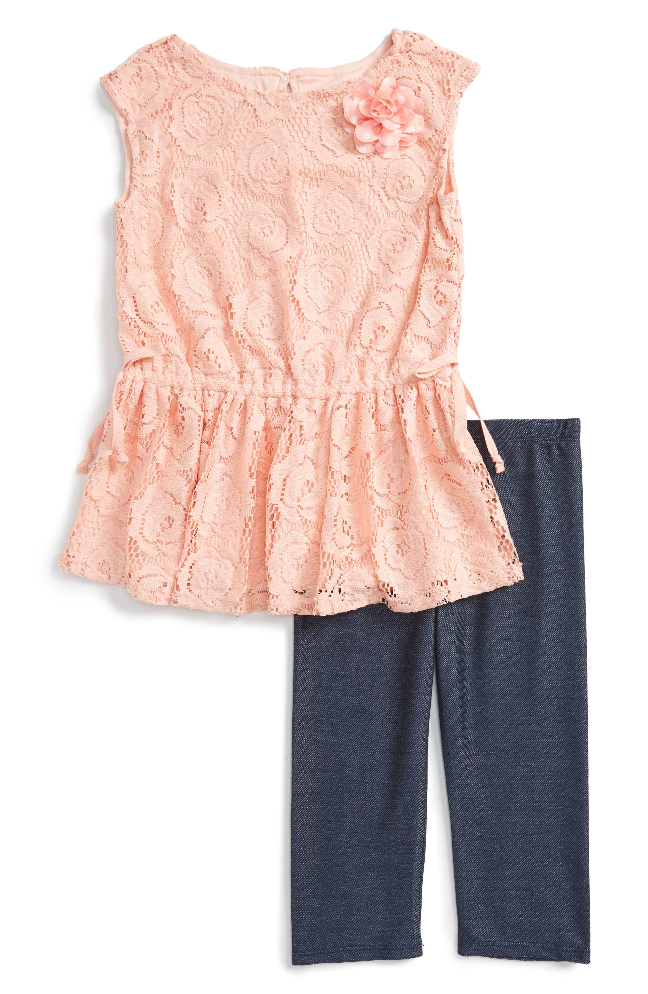 Main Image - Pippa & Julie Lace Tunic & Leggings Set (Toddler Girls & Little Girls)