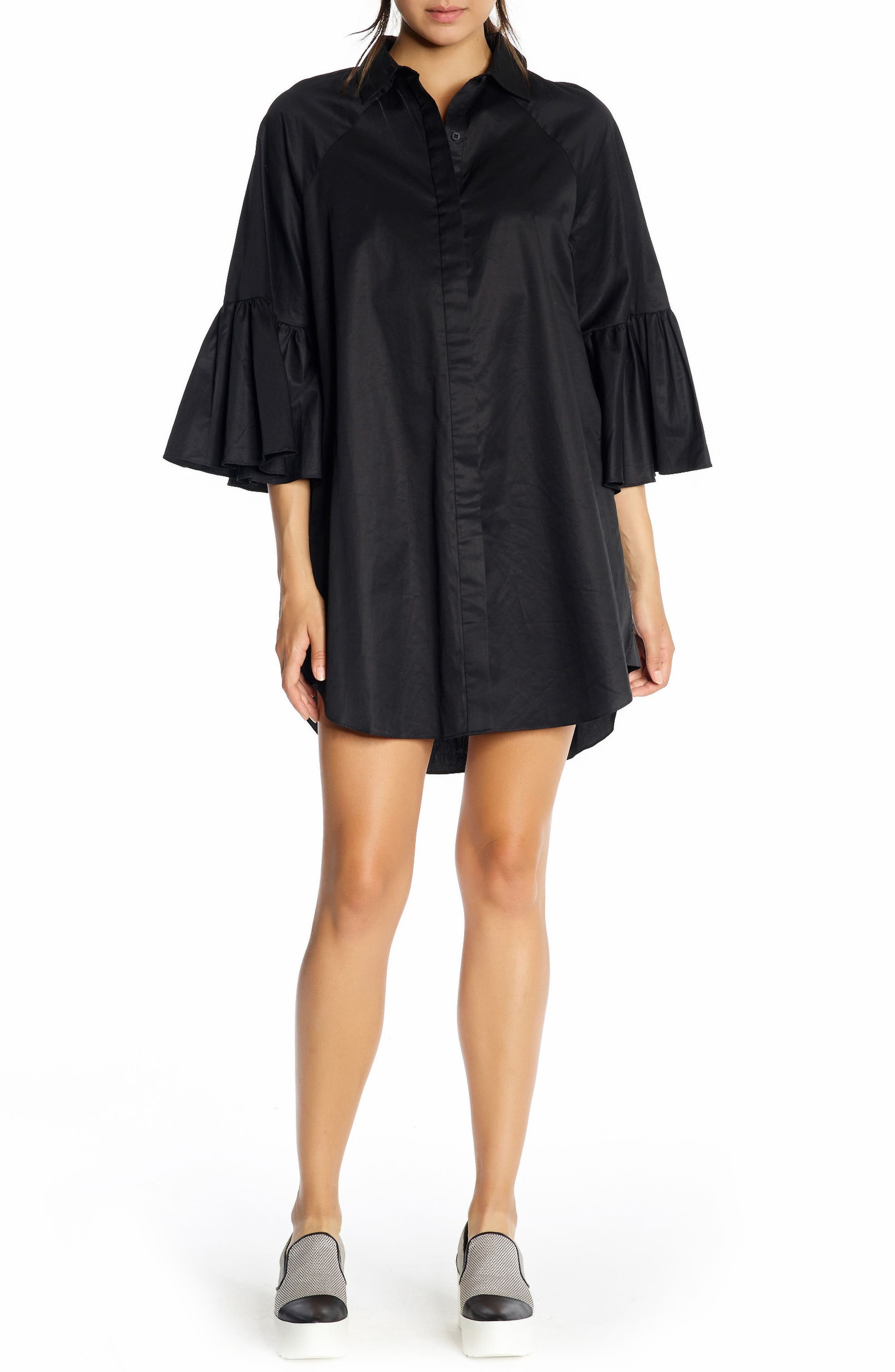 Alternate Image 1 Selected - KENDALL + KYLIE Bell Sleeve Cotton Shirtdress