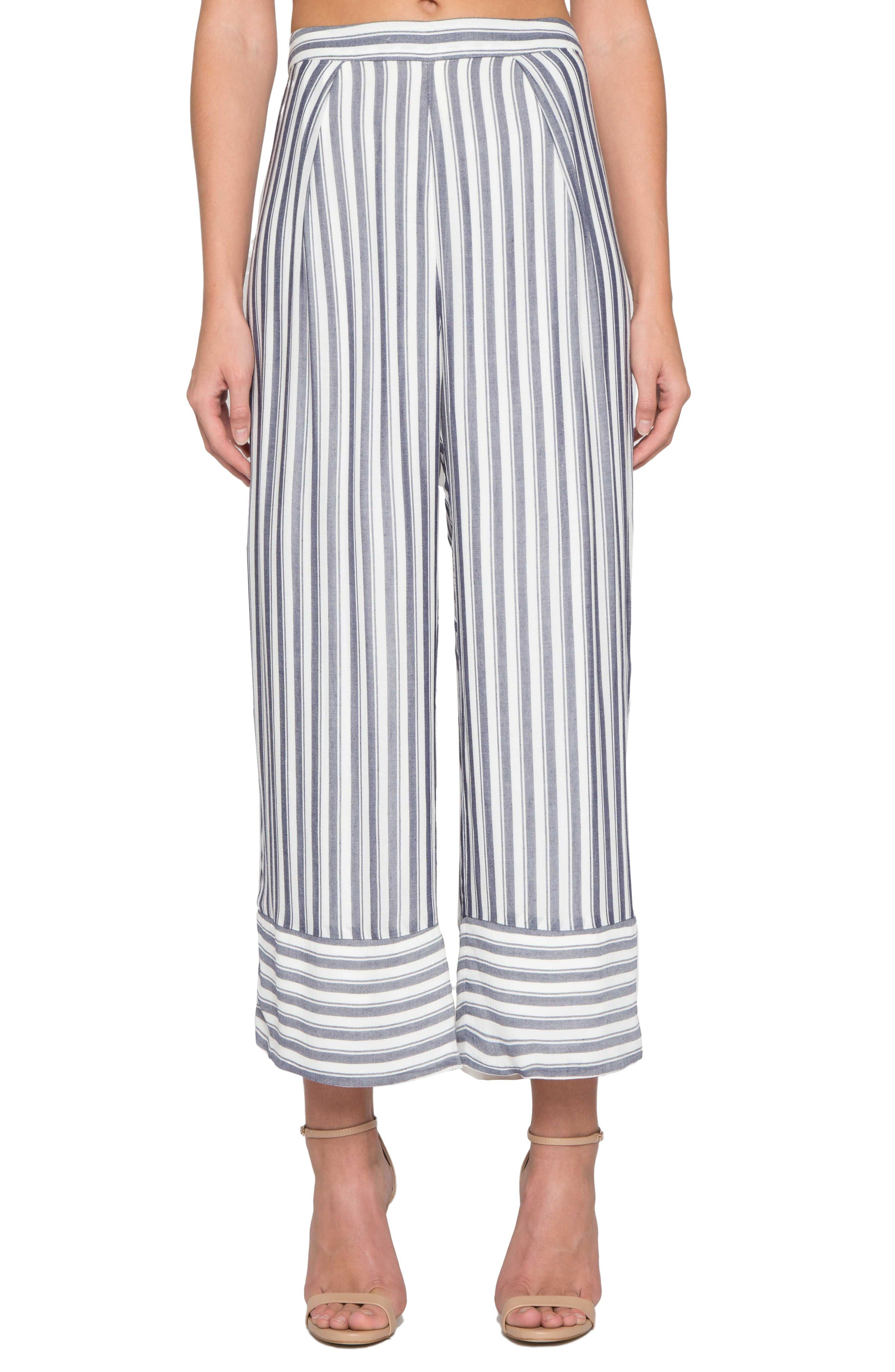 Willow & Clay Stripe Wide Leg Crop Pants