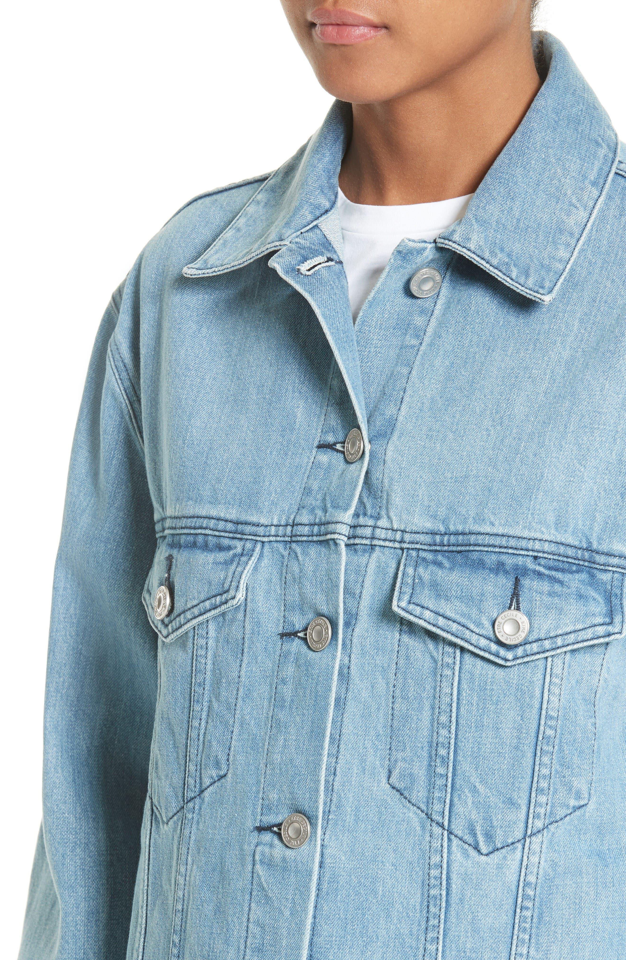 Alternate Image 4  - être cécile Venice Peaches Oversize Denim Jacket