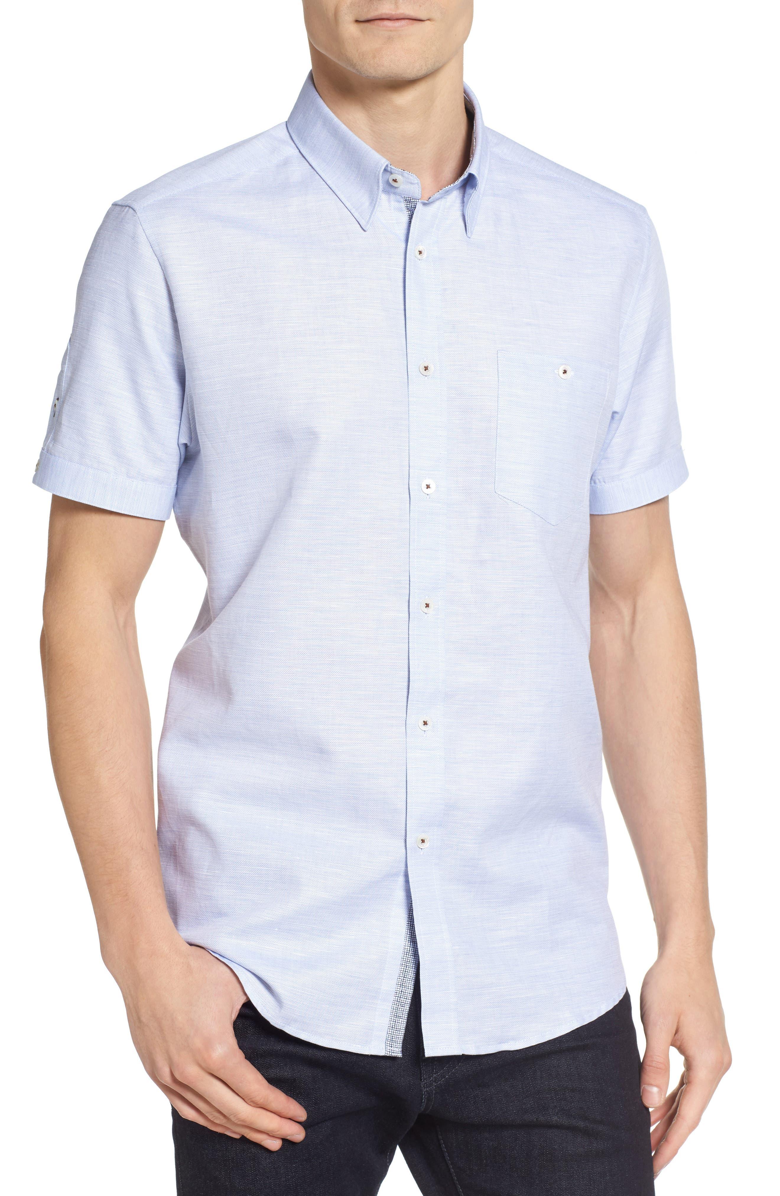 Ted Baker London Sweetz Extra Slim Fit Cotton & Linen Sport Shirt