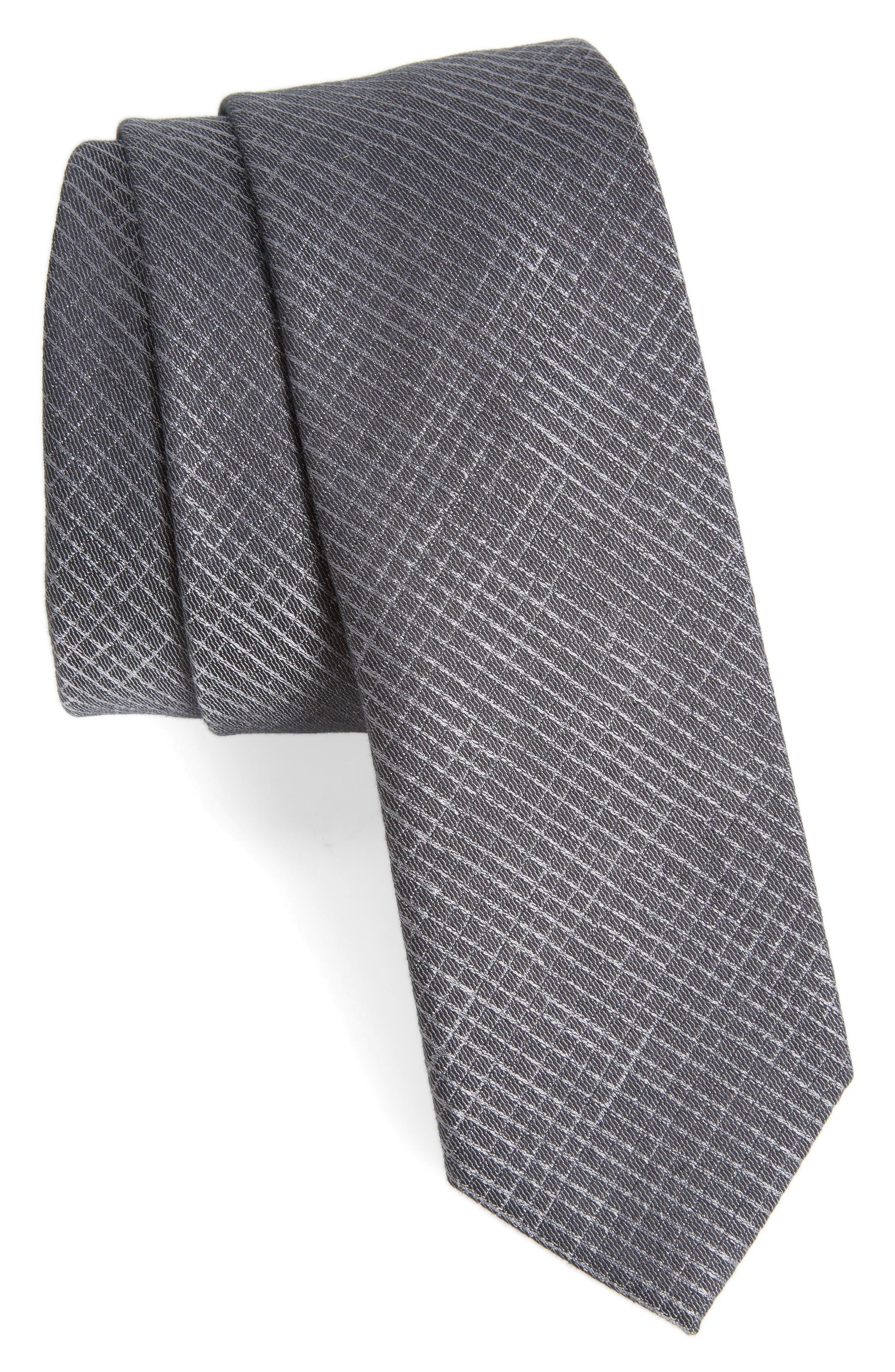 BOSS Check Silk Skinny Tie