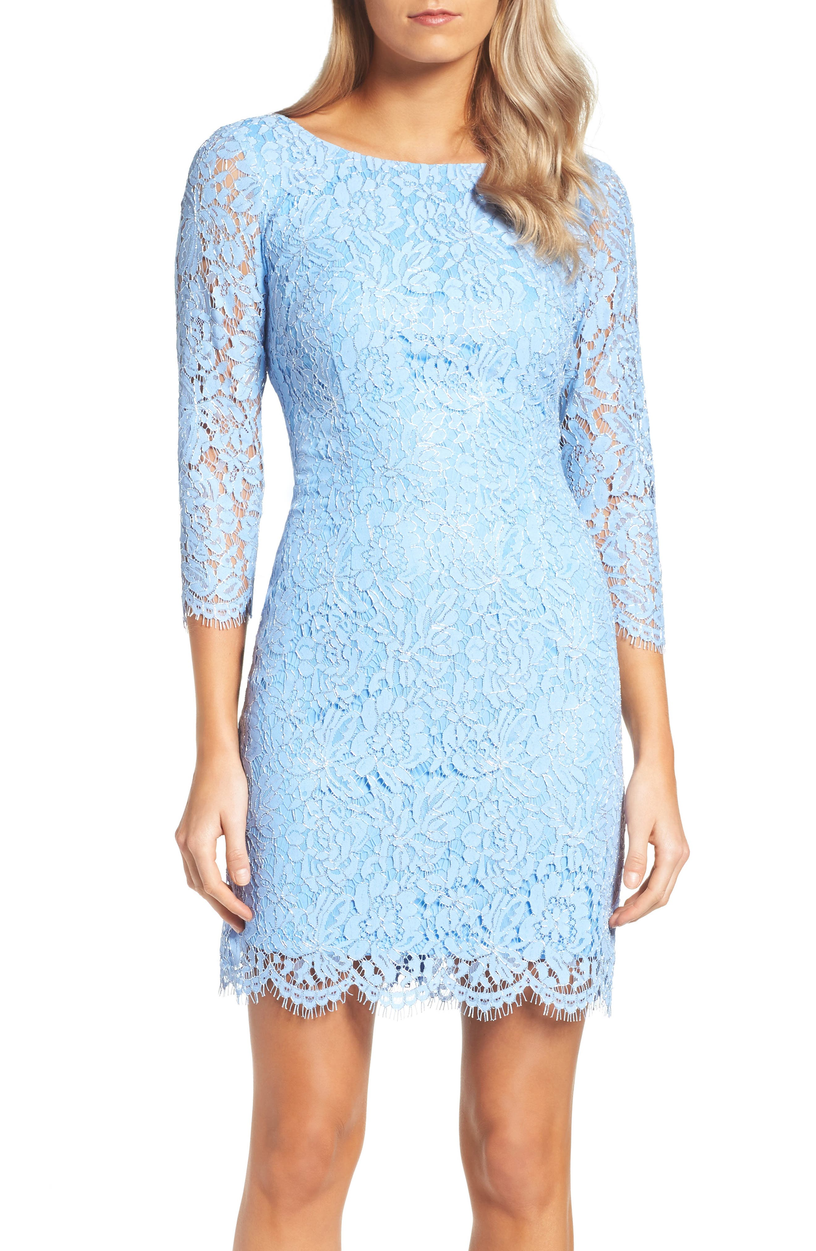 Adrianna Papell Metallic Lace Minidress (Regular & Petite)