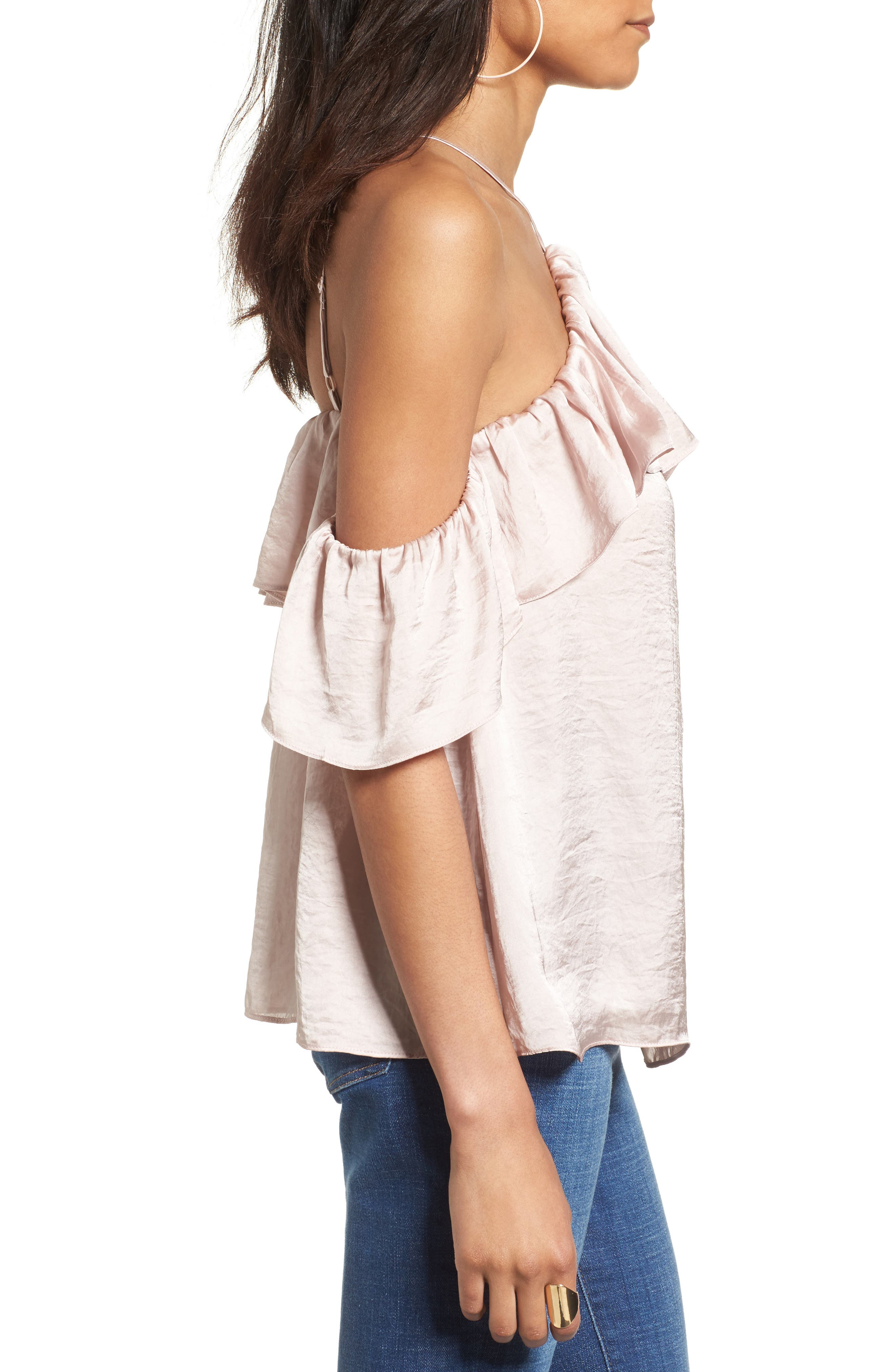 Alternate Image 4  - Ten Sixty Sherman Satin Cold Shoulder Top