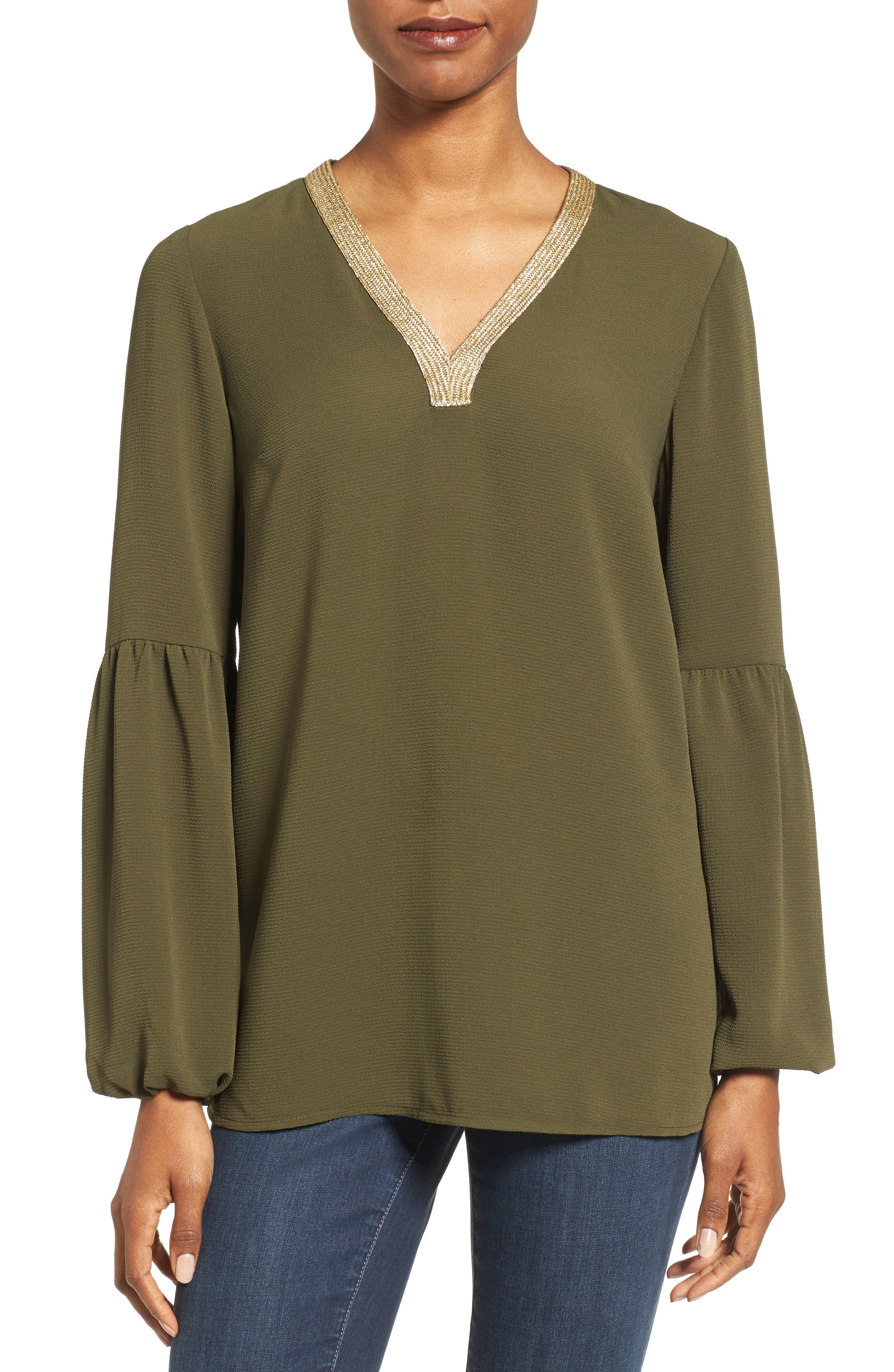 MICHAEL Michael Kors Metallic Trim Top