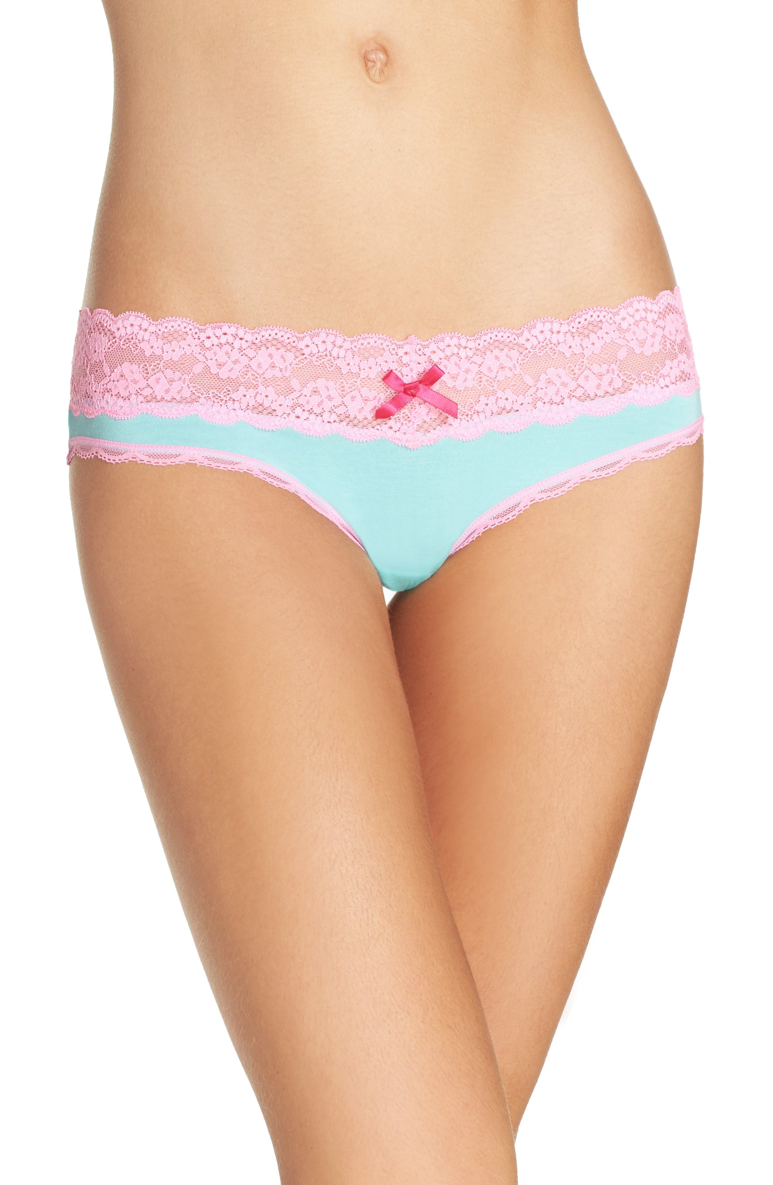 Alternate Image 1 Selected - Honeydew Intimates Lace Trim Low Rise Thong (3 for $33)
