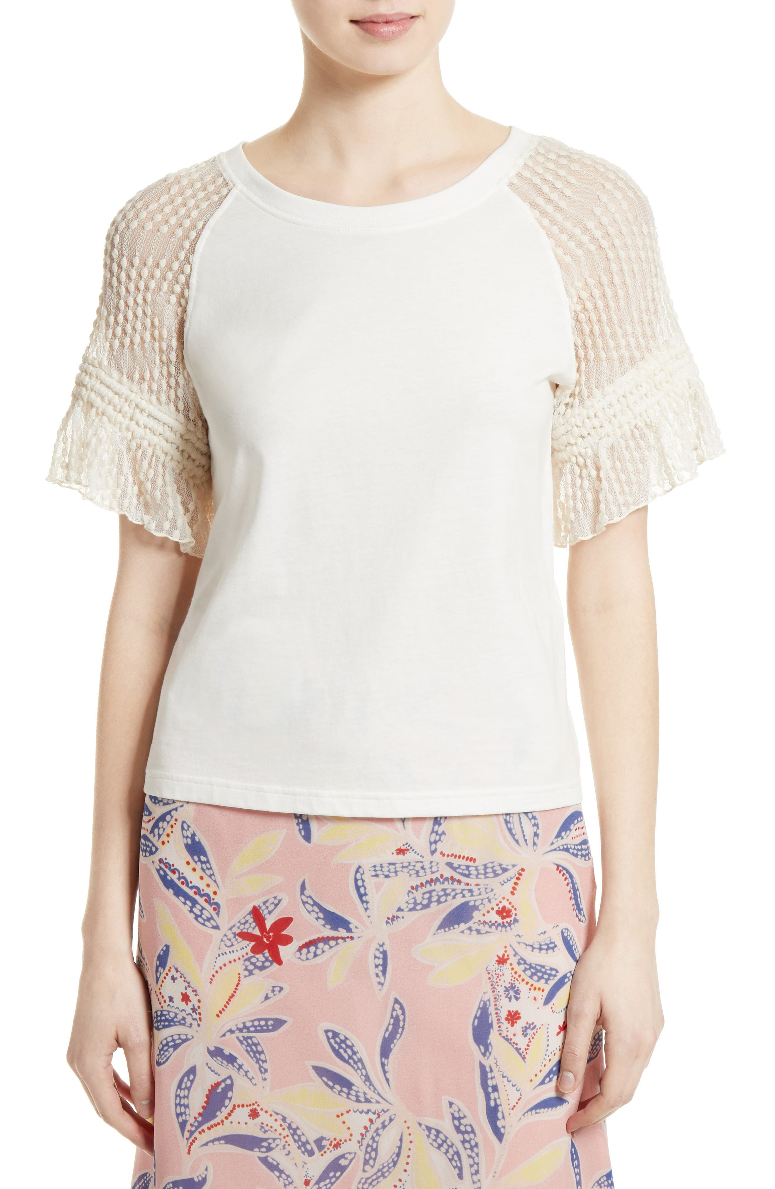 See by Chloé Lace Sleeve Tee