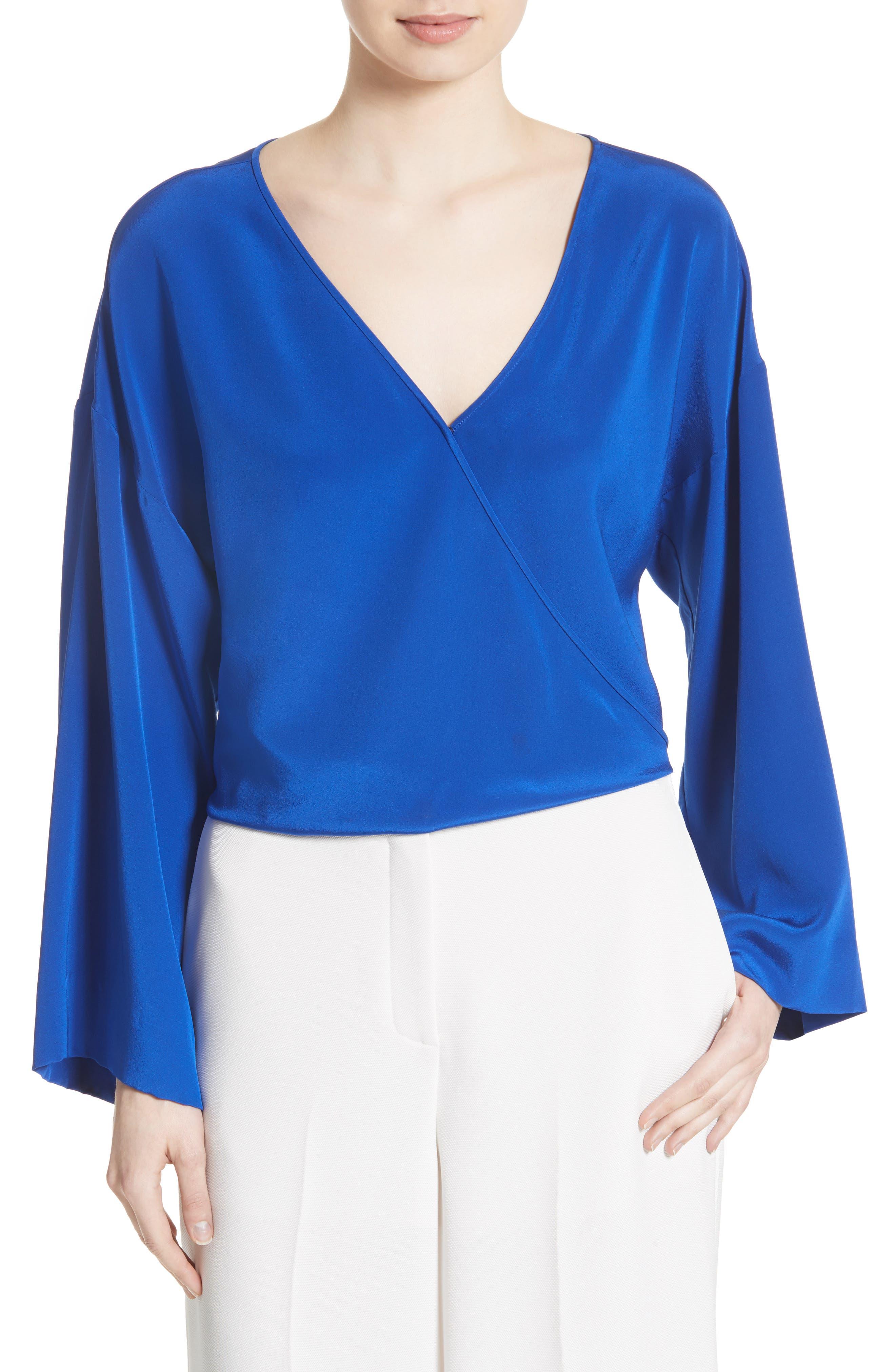 Diane von Furstenberg Bell Sleeve Faux Wrap Silk Blouse