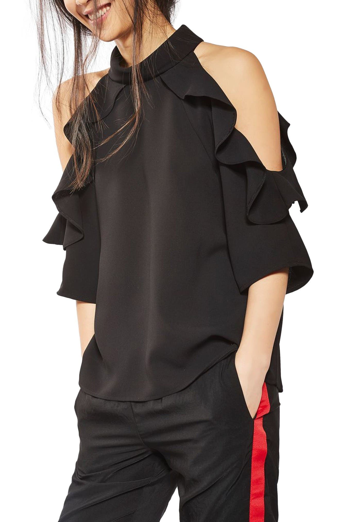 Alternate Image 1 Selected - Topshop Ruffle Cold Shoulder Top