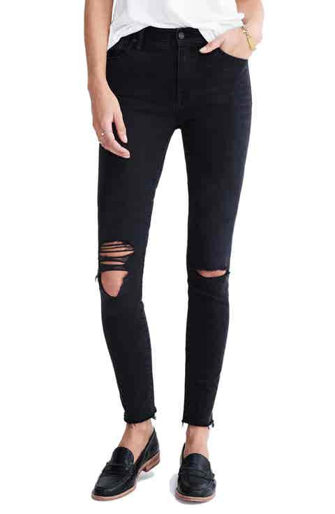 Madewell High Rise Skinny Jeans (Black Sea)