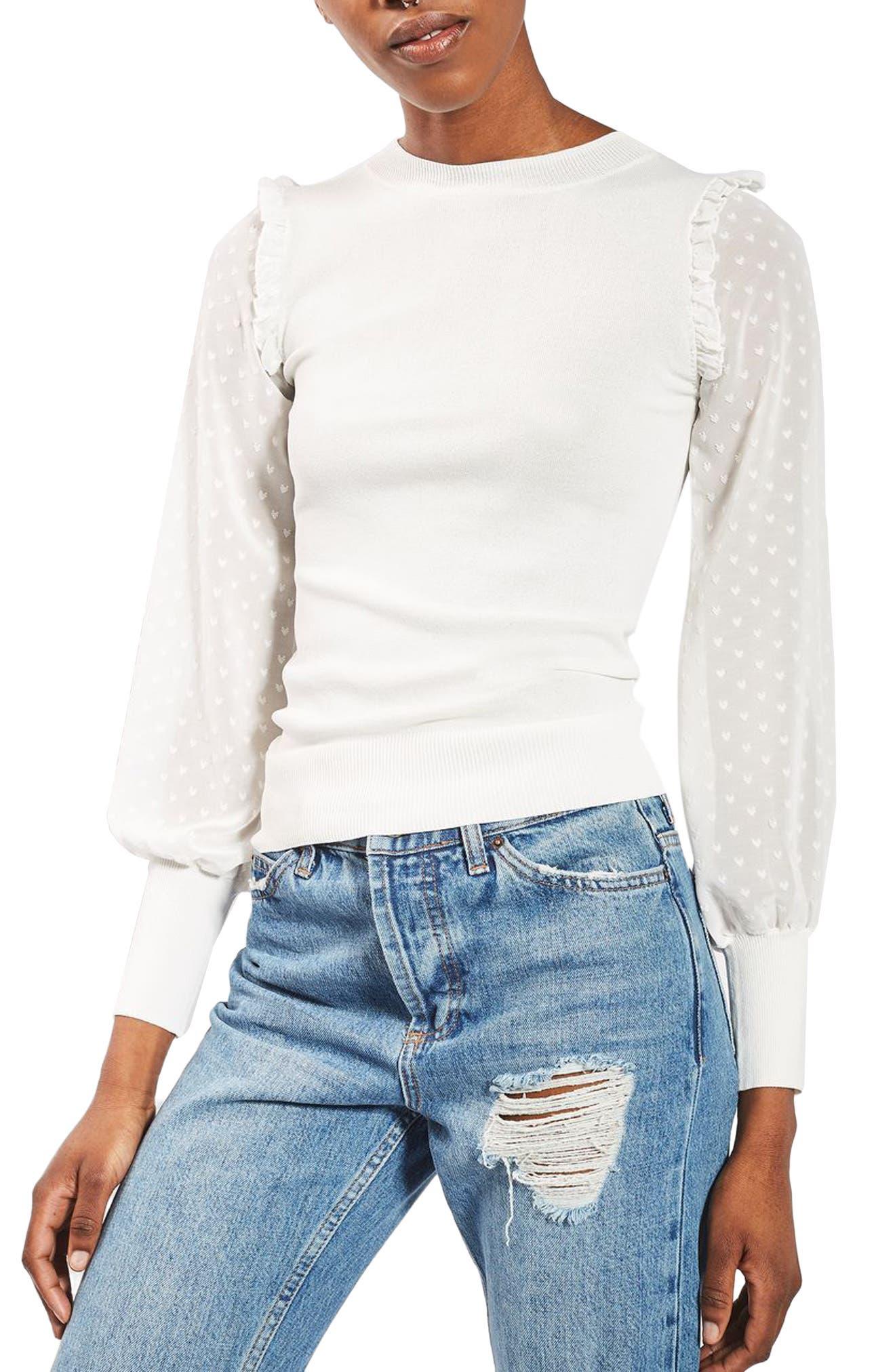 Main Image - Topshop Chiffon Sleeve Sweater