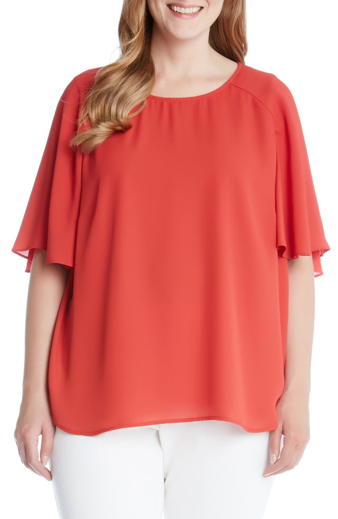 Karen Kane Crepe Cape Sleeve Top (Plus Size)