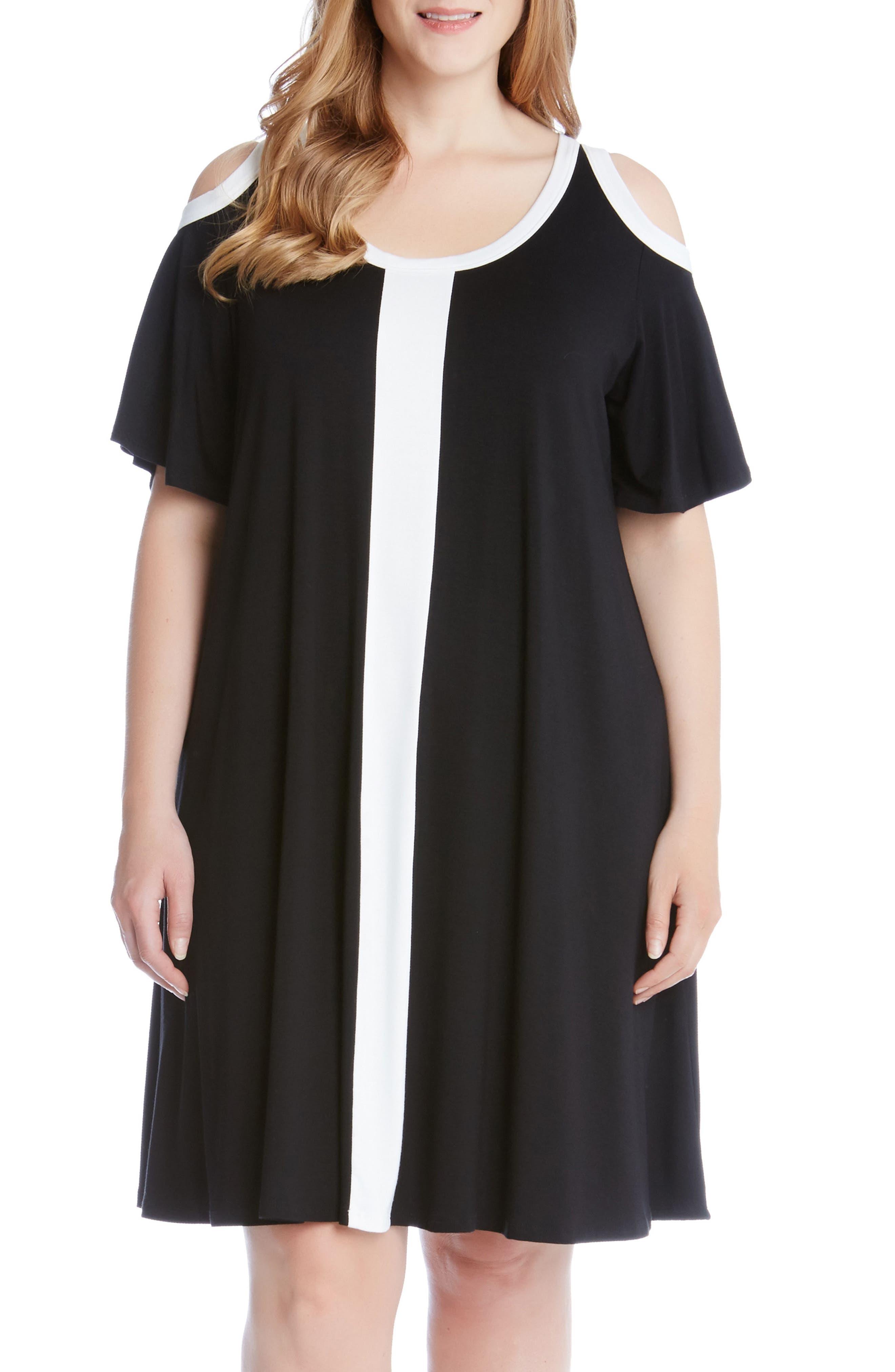 Karen Kane Colorblock Cold Shoulder Dress (Plus Size)
