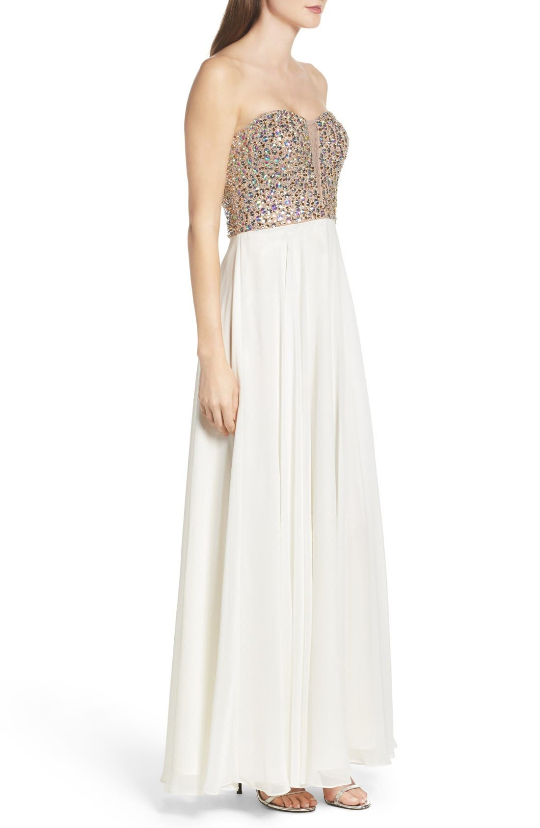 Alternate Image 3  - Xscape Embellished Strapless Gown