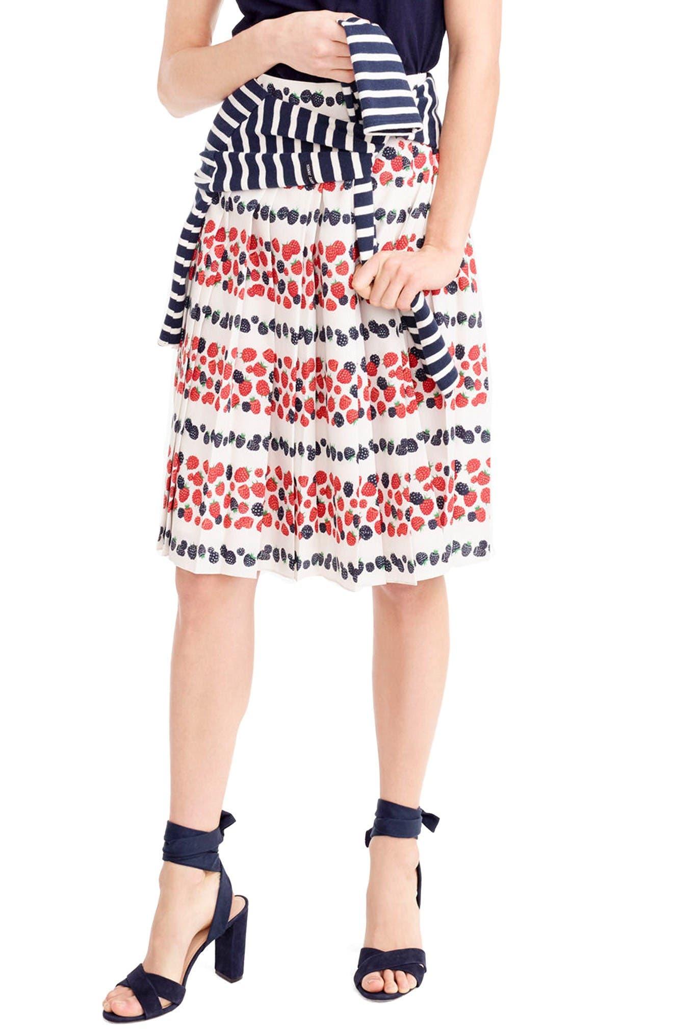 Main Image - J.Crew Berry Print Pleat Skirt