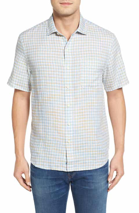 Tommy Bahama Check Stamos Standard Fit Linen Sport Shirt