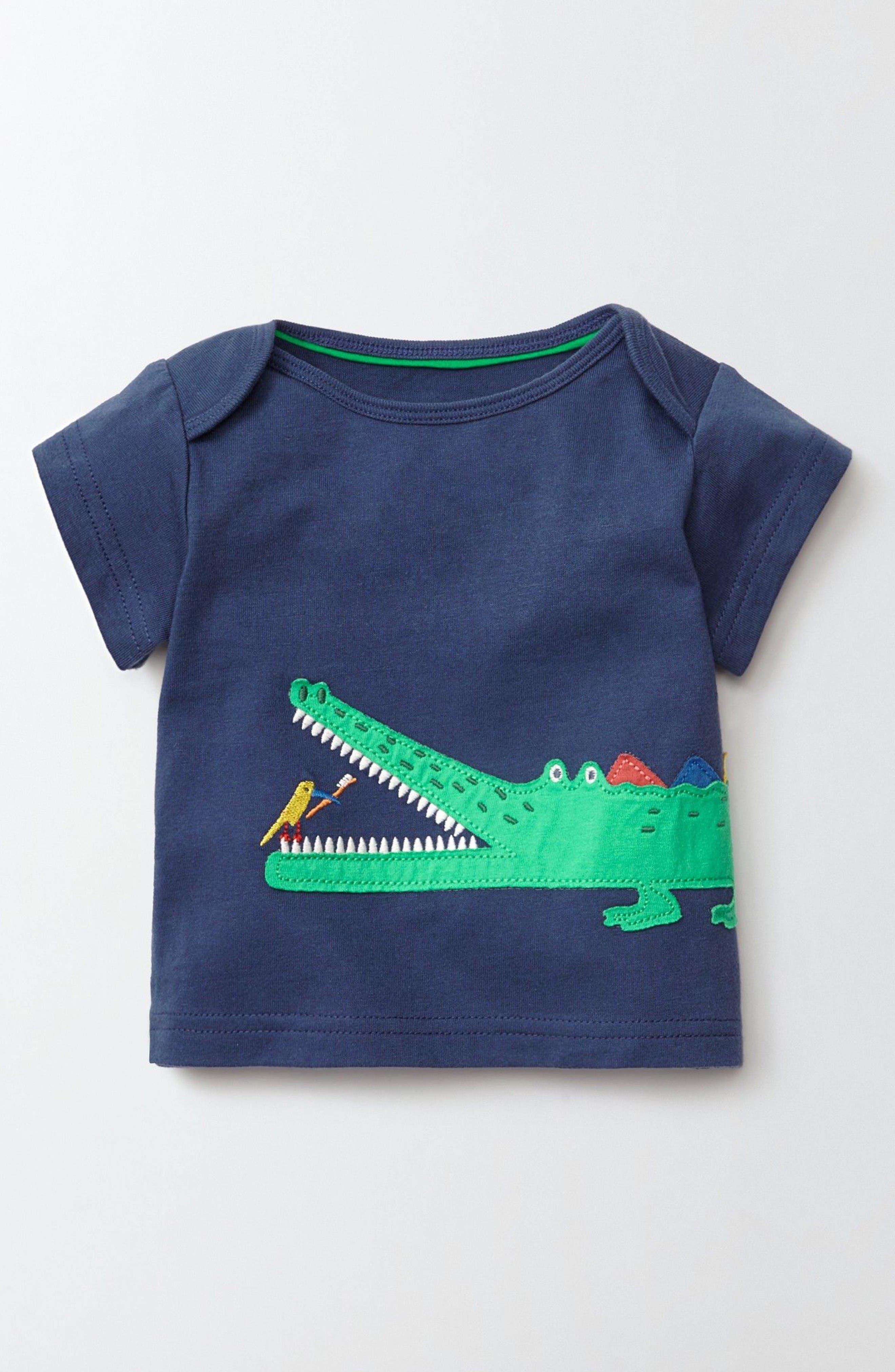 Alternate Image 1 Selected - Mini Boden Big Appliqué T-Shirt (Baby Boys & Toddler Boys)