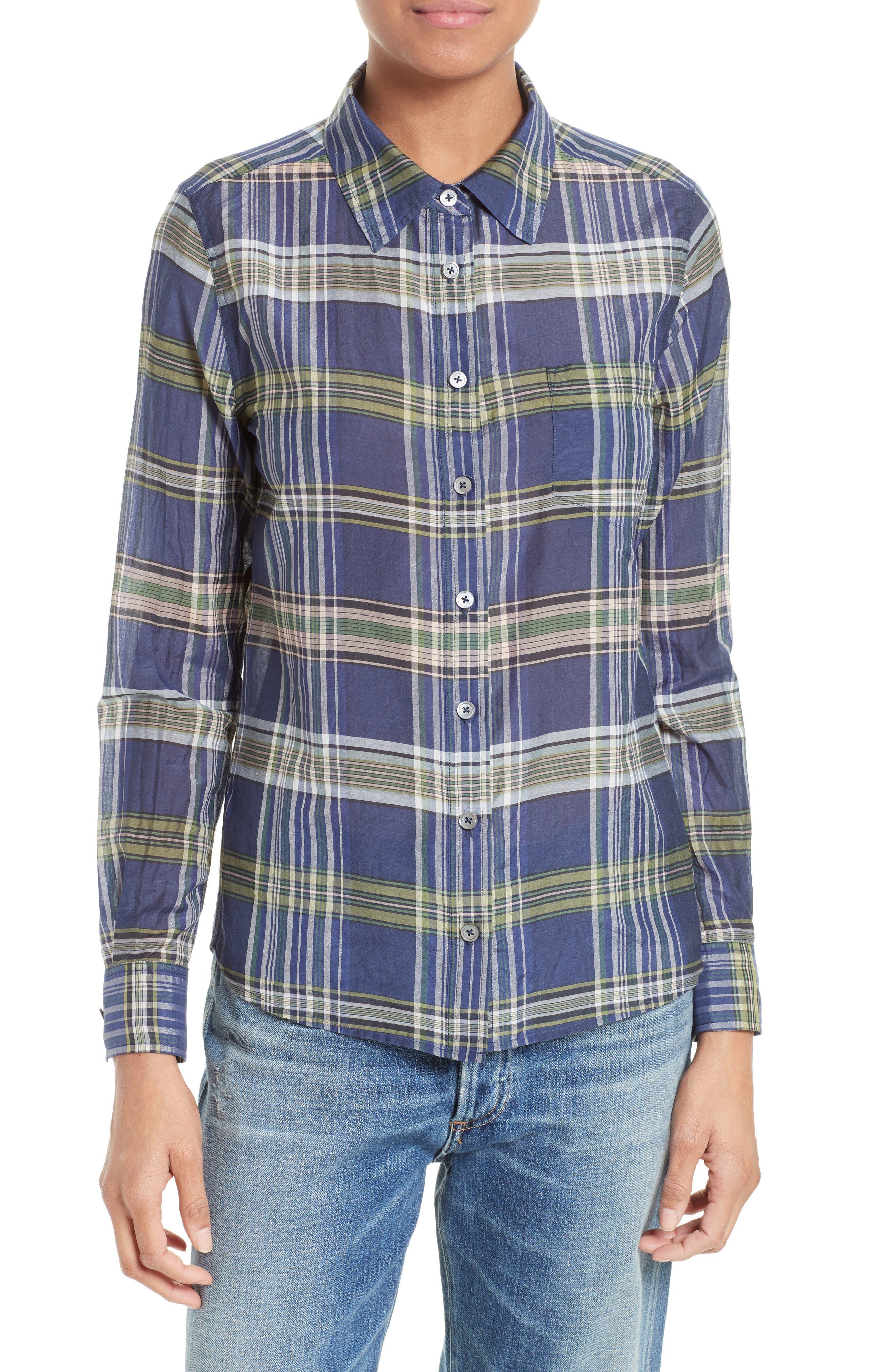 Equipment Brett Plaid Cotton & Silk Shirt