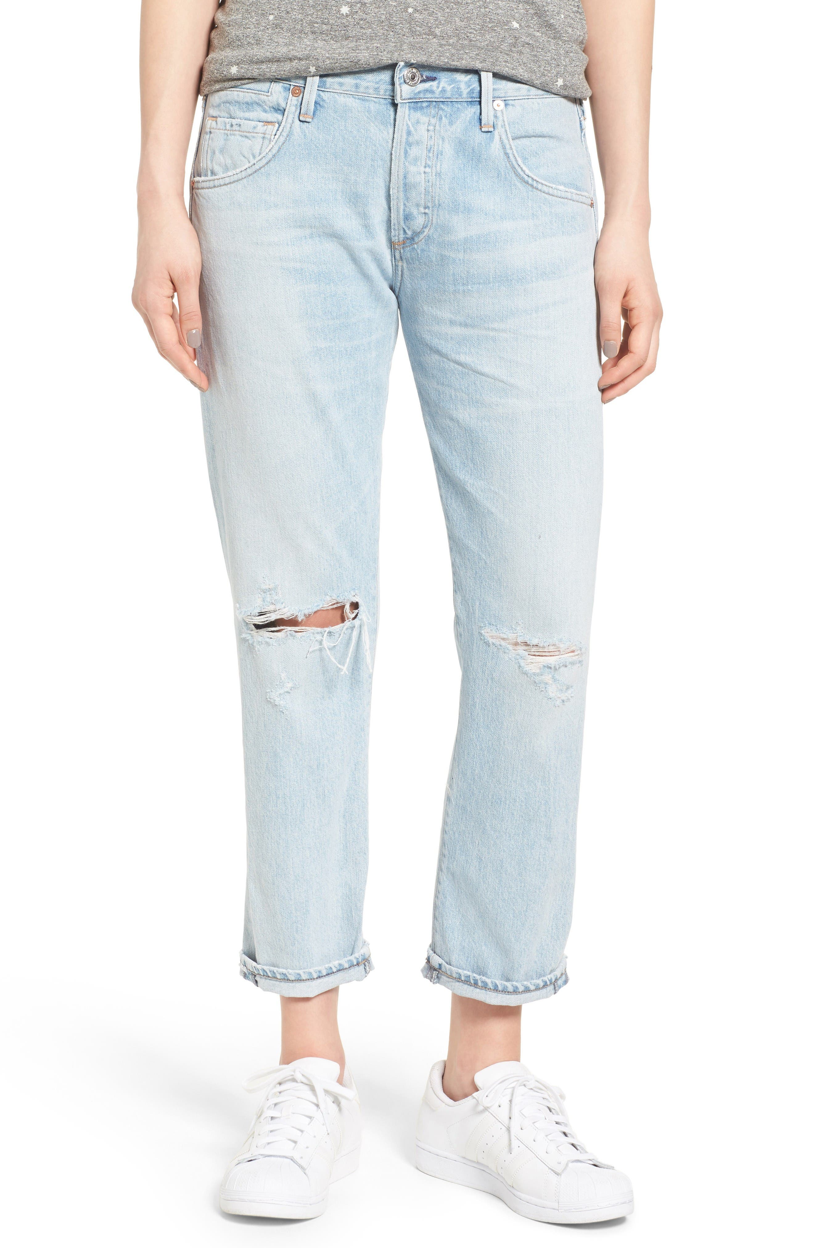 Alternate Image 1 Selected - Citizens of Humanity Emerson High Waist Ripped Boyfriend Jeans (Distressed Rock)