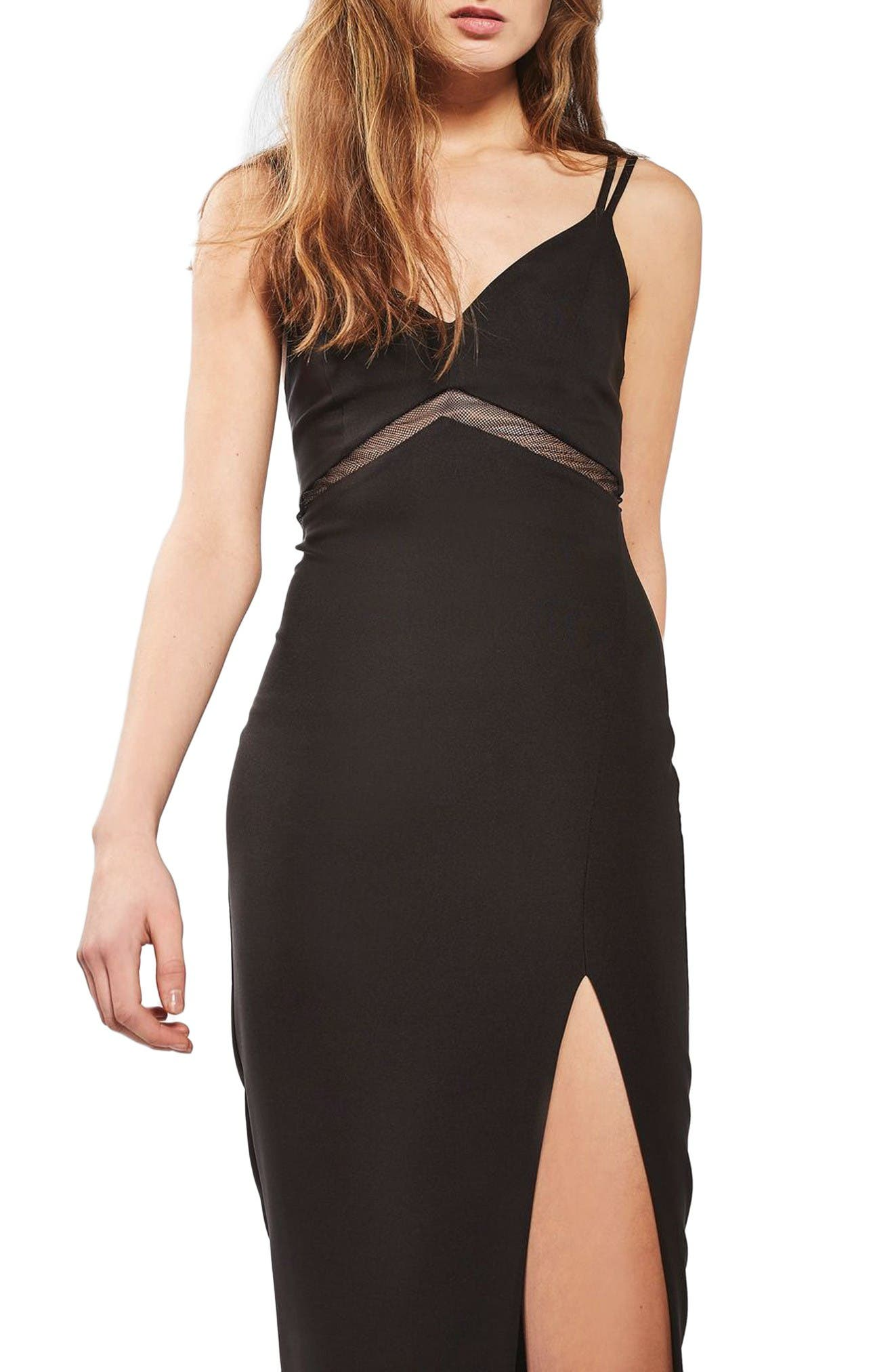 Main Image - Topshop Mesh Inset Body-Con Dress