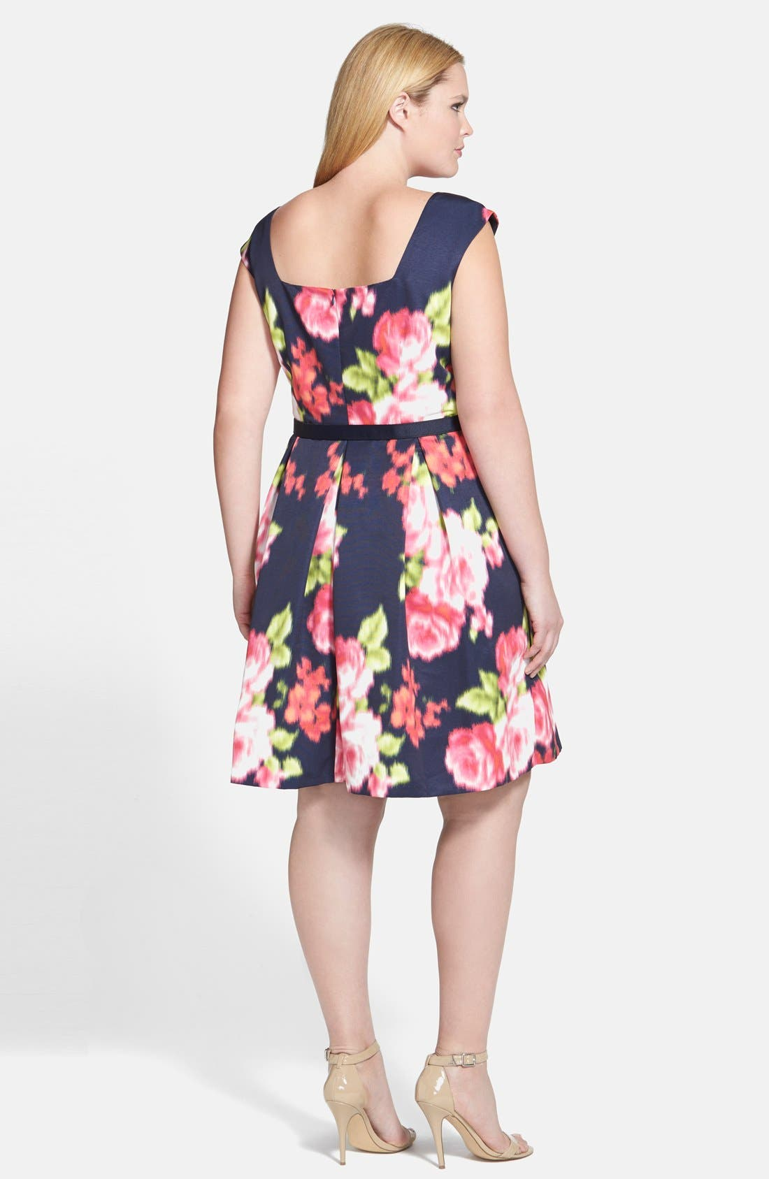 Alternate Image 2  - Eliza J Floral Print Cap Sleeve Fit & Flare Dress (Plus Size)