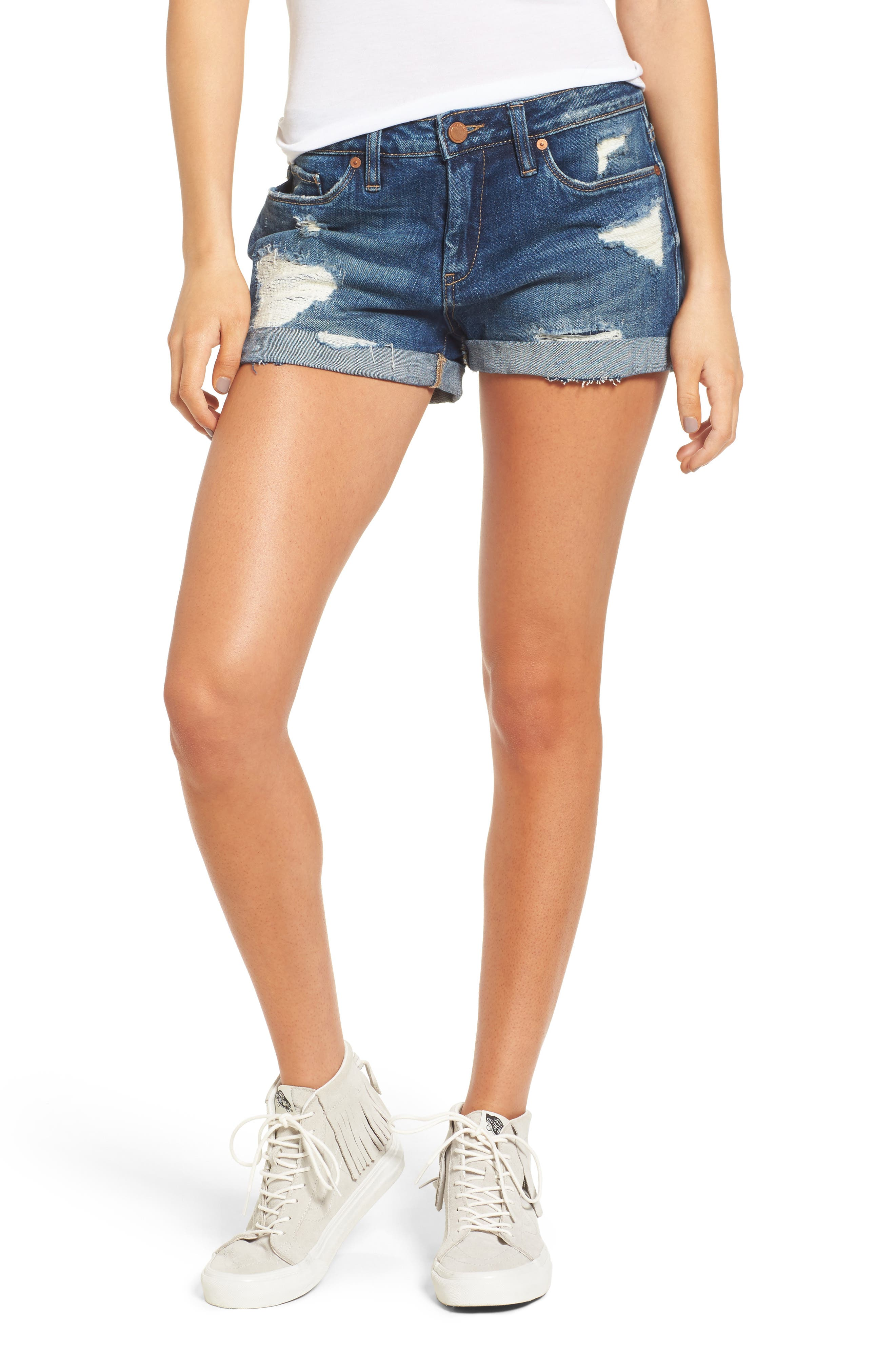 Alternate Image 1 Selected - BLANKNYC Boyfriend Denim Shorts (Dress Down Party)
