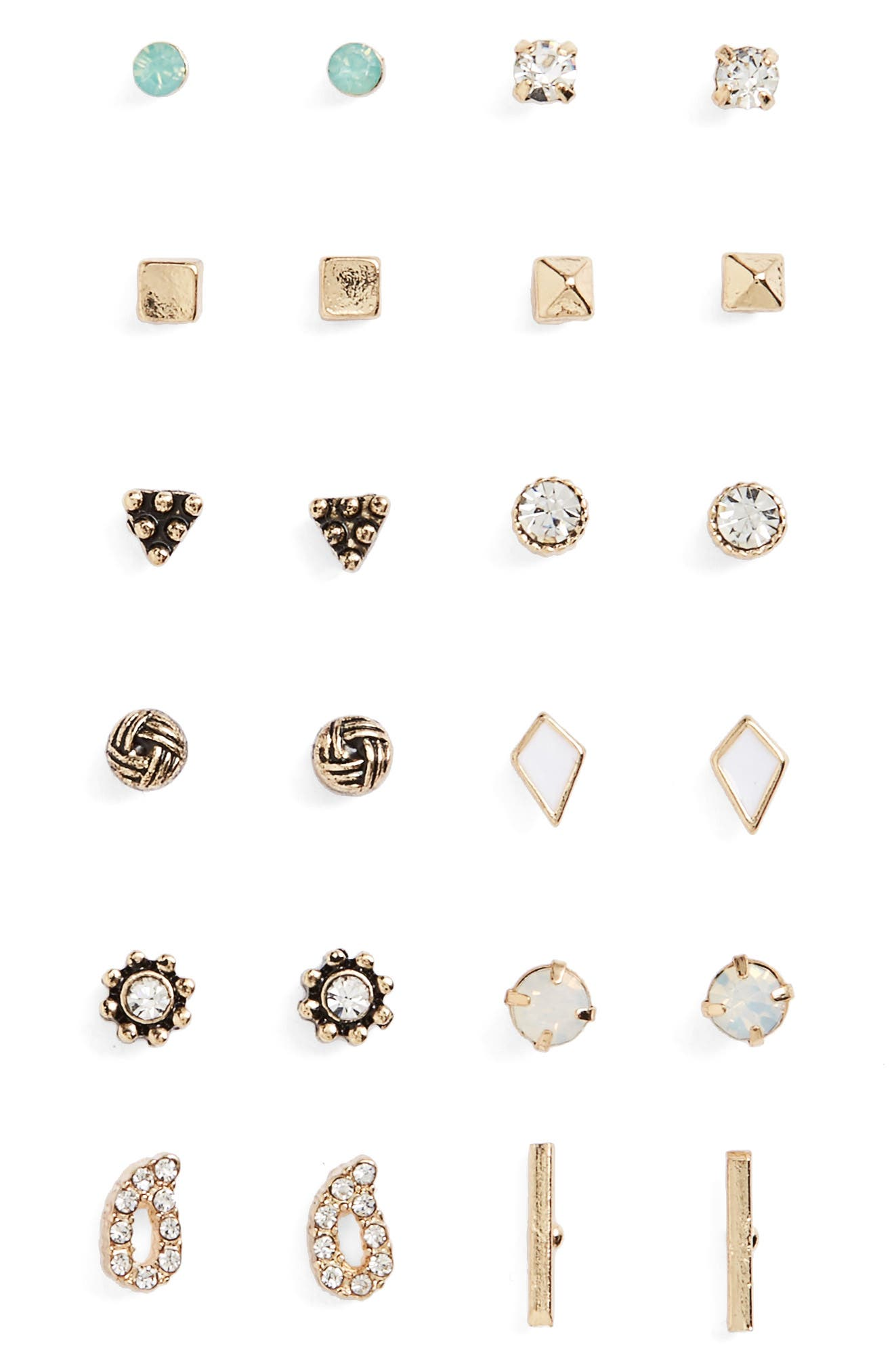 Main Image - BP. 12-Pack Geometric Stud Earrings
