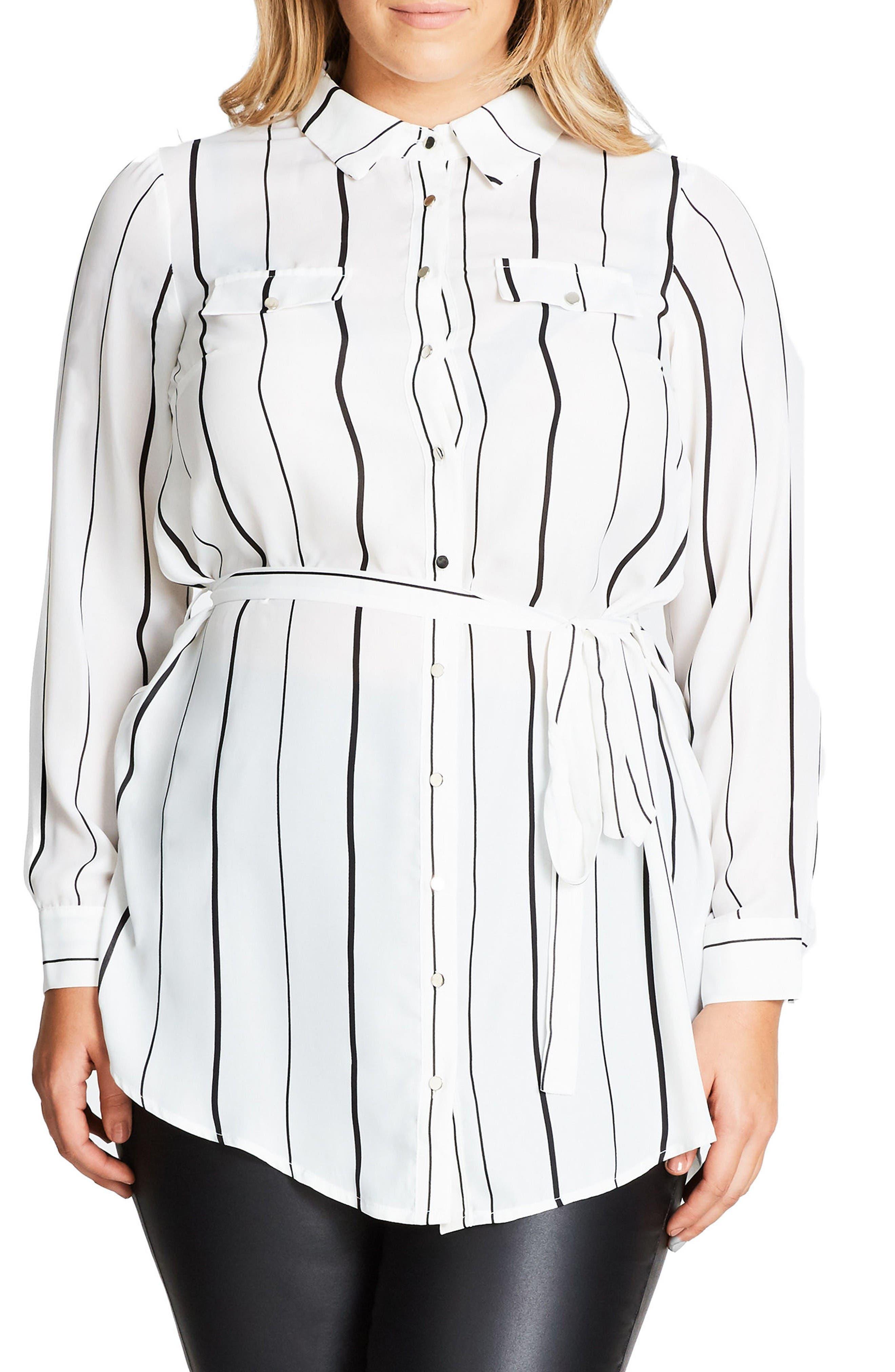 City Chic Stripe Tunic (Plus Size)