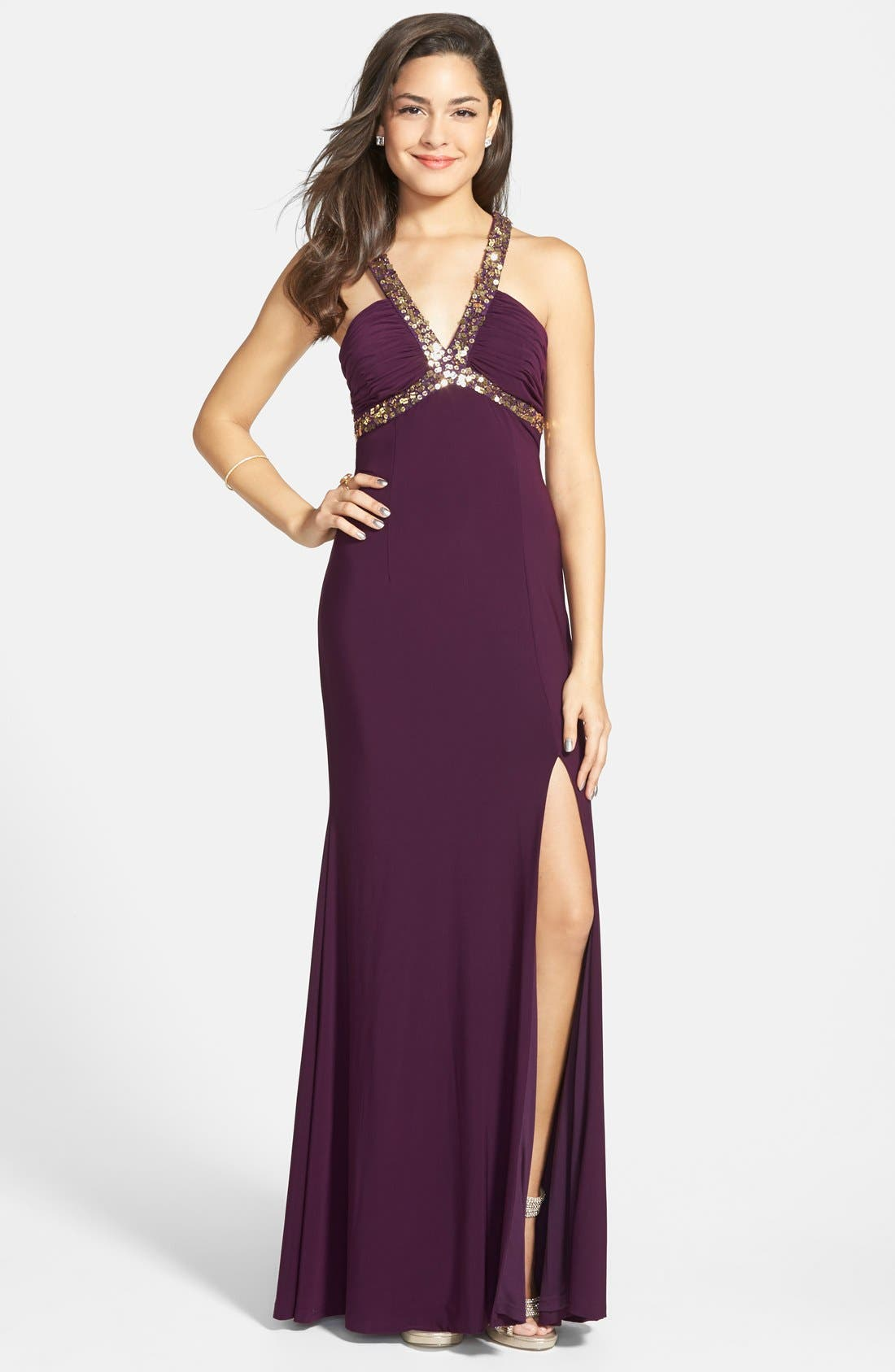 Main Image - Hailey Logan Embellished Cage Back Gown (Juniors)