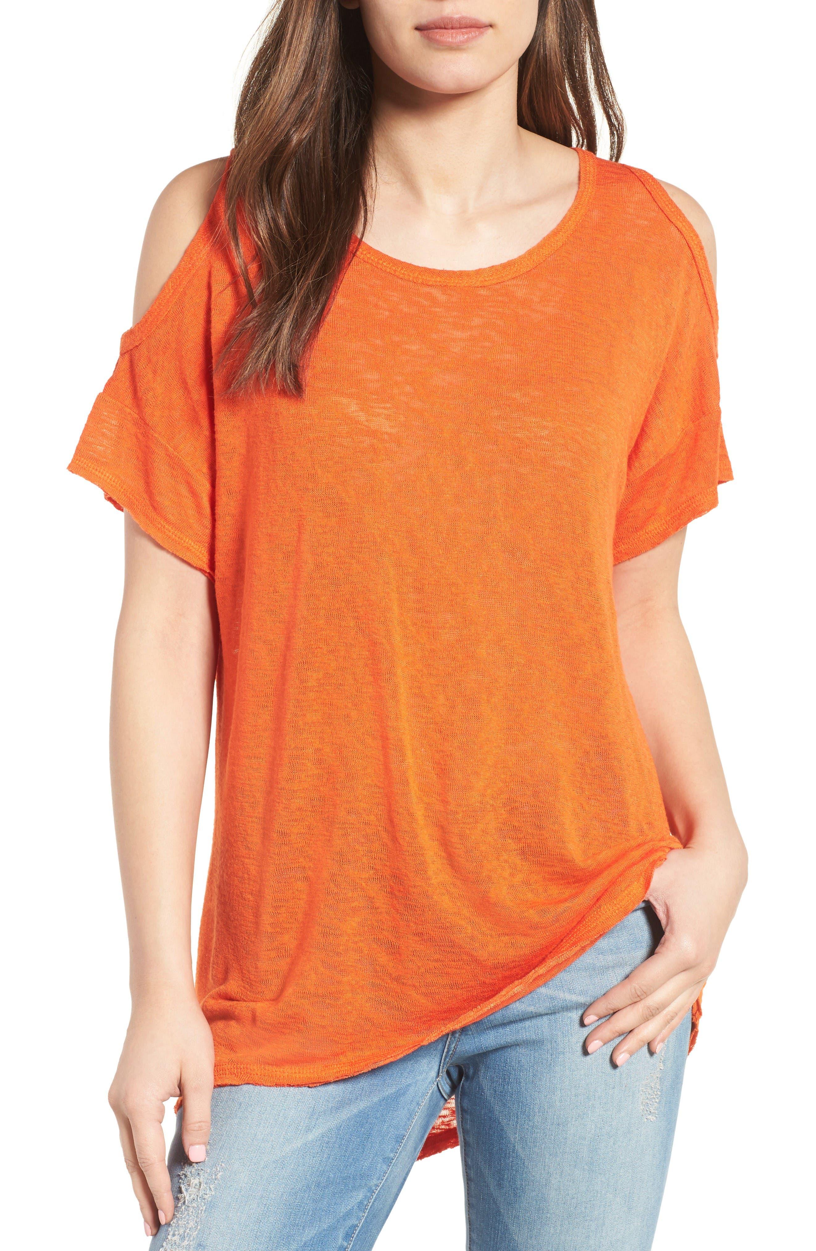 Main Image - Bobeau Cold Shoulder Slub Knit Tee (Regular & Petite)