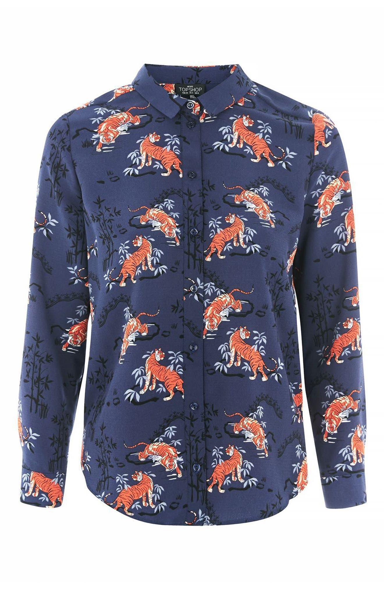 Alternate Image 4  - Topshop Tiger Print Shirt (Petite)