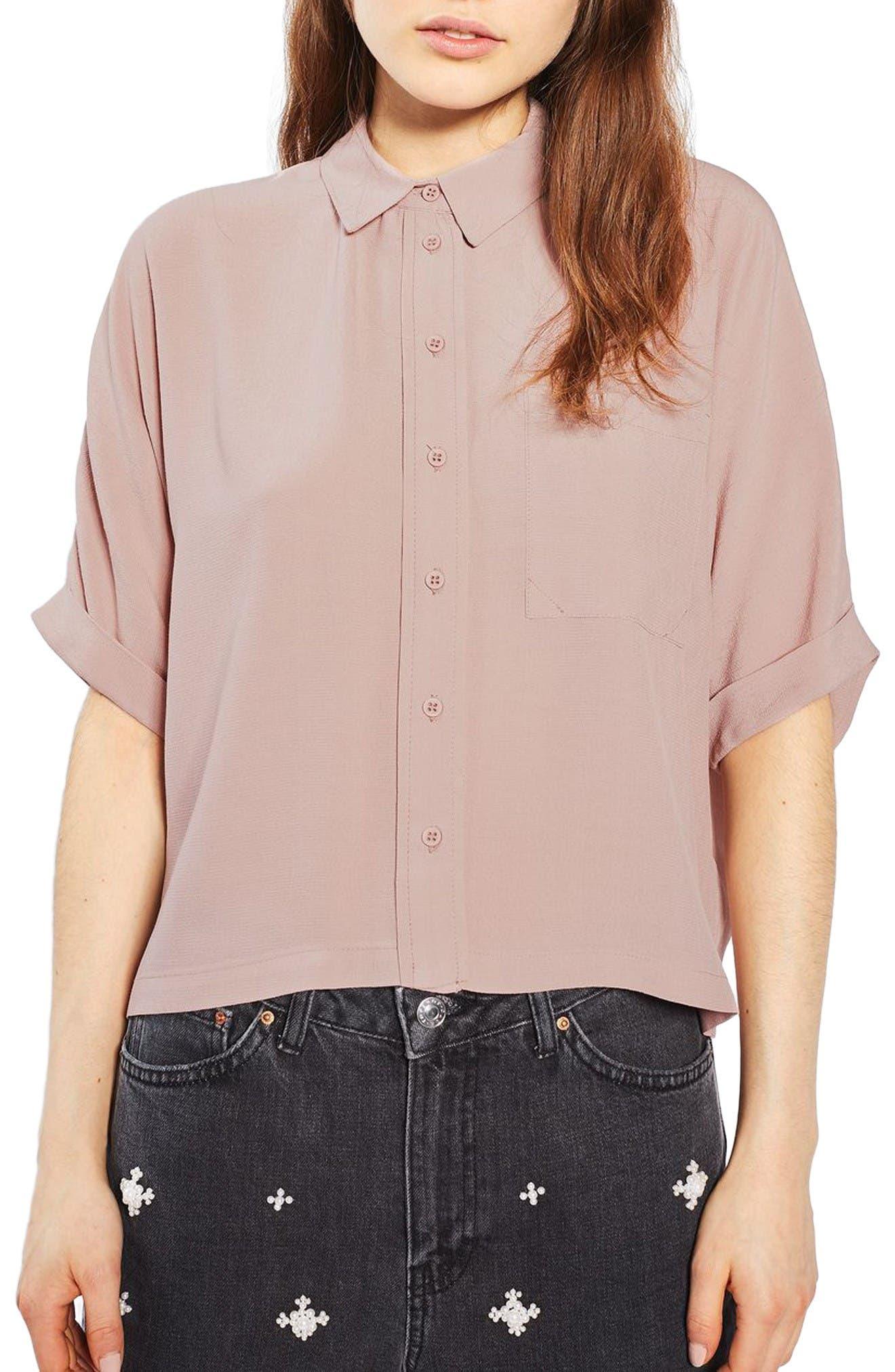 Main Image - Topshop Kady Roll Sleeve Shirt
