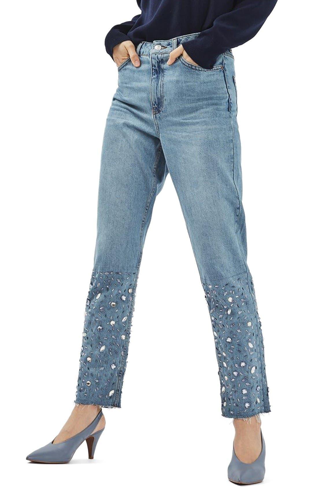 Alternate Image 1 Selected - Topshop Gemstone Mom Jeans