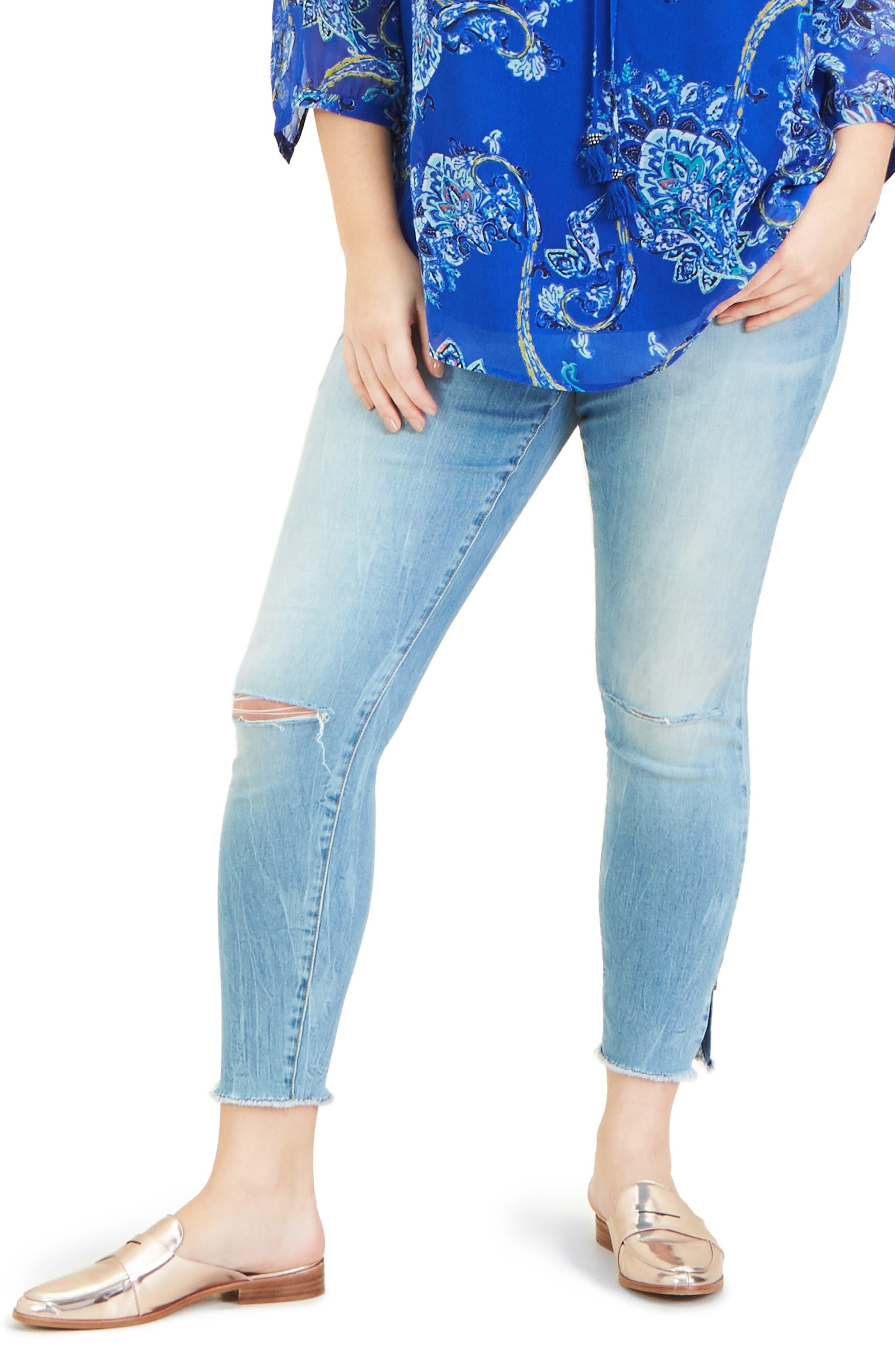 SLINK JEANS Side Vent Frayed Hem Ankle Jeans