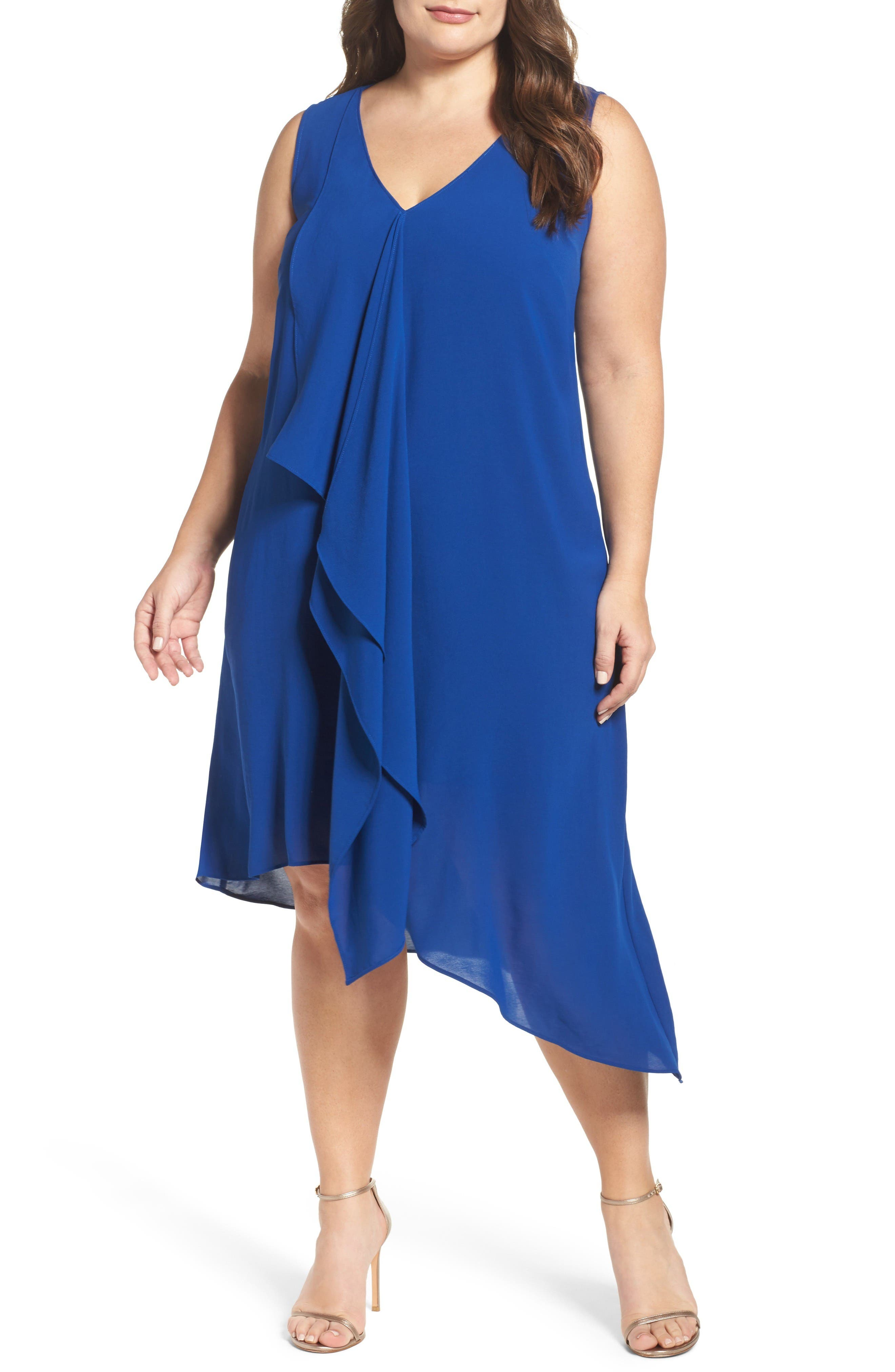 ADRIANNA PAPELL Sleeveless Asymmetrical Front Drape Crepe Shift