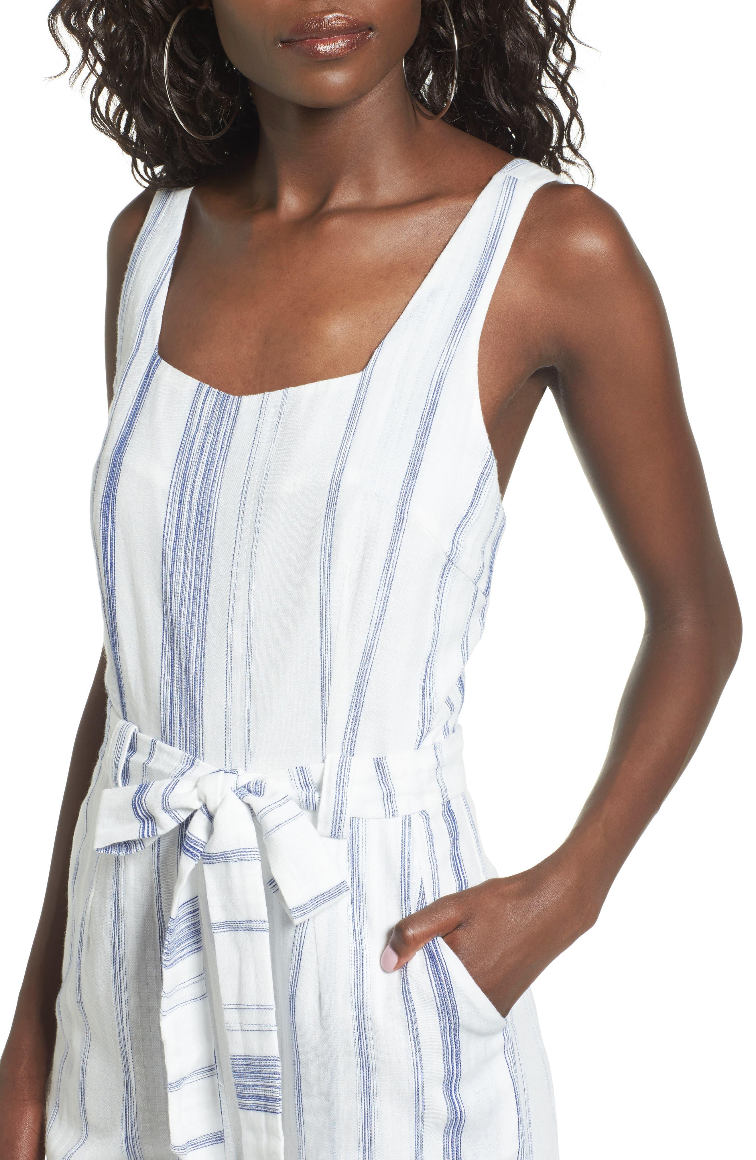 Alternate Image 4  - J.O.A. Crop Stripe Cotton Jumpsuit