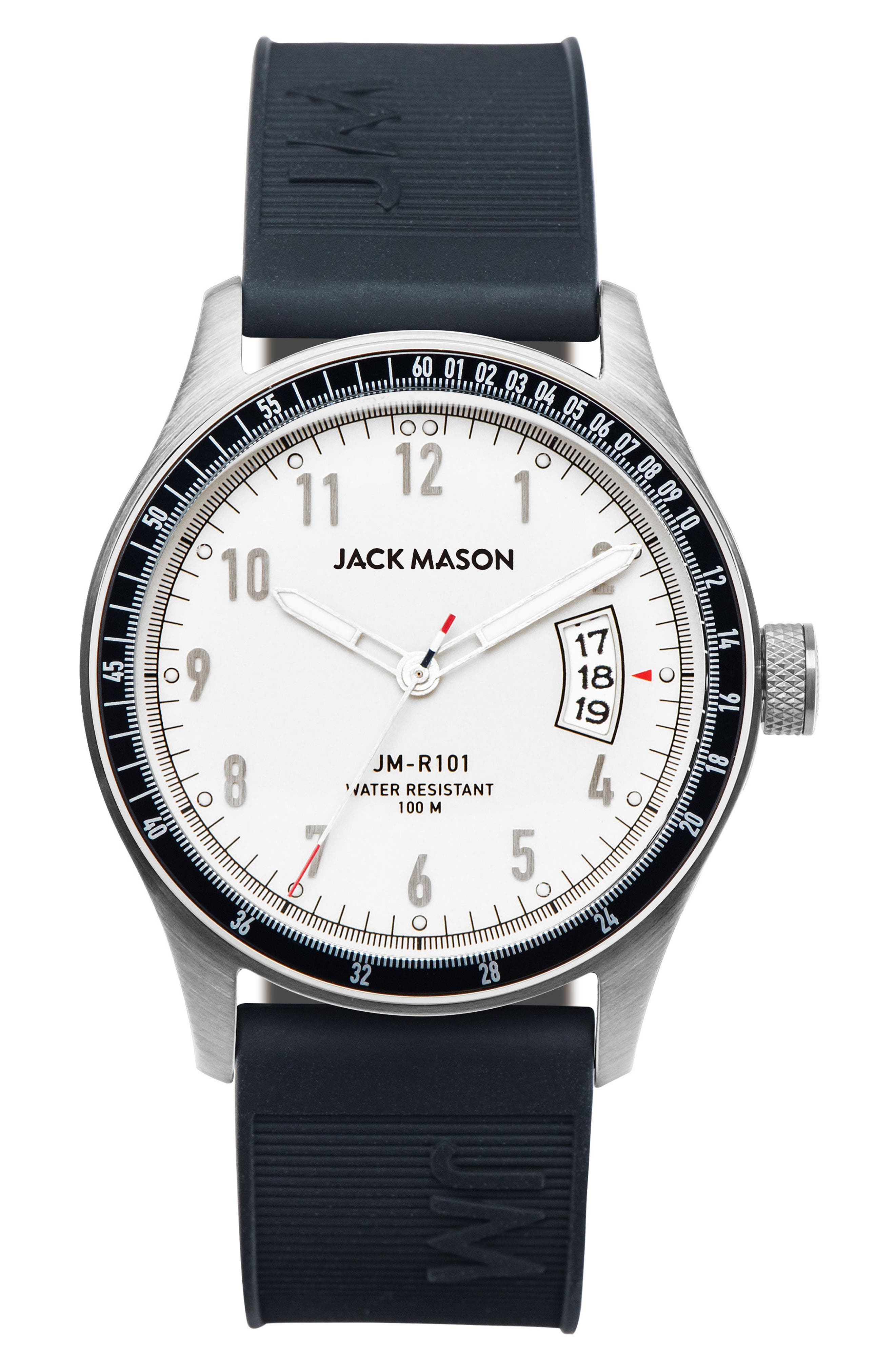 Jack Mason Racing Rubber Strap Watch, 46mm