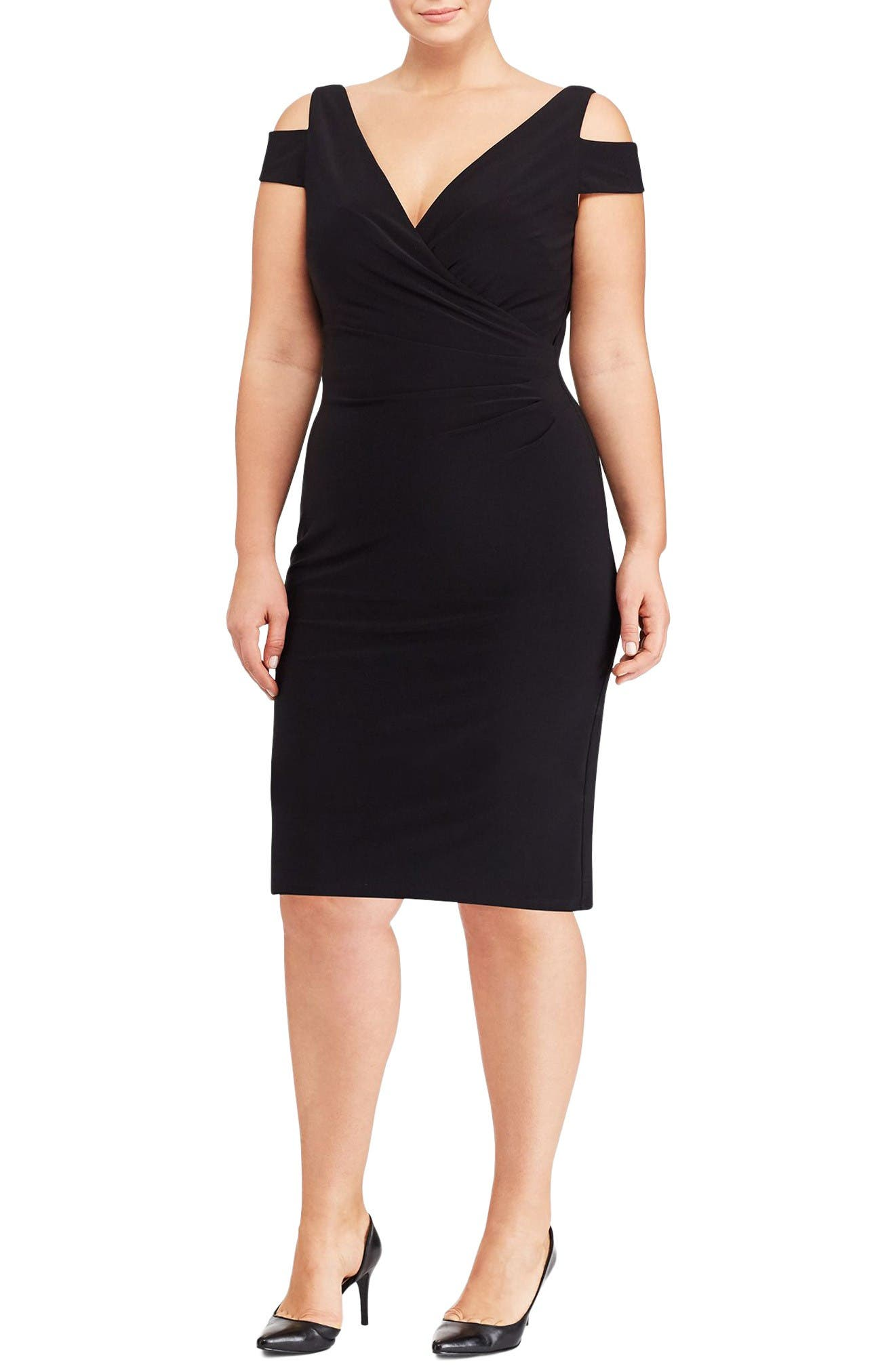 Lauren Ralph Lauren Cold Shoulder Sheath Dress (Plus Size)