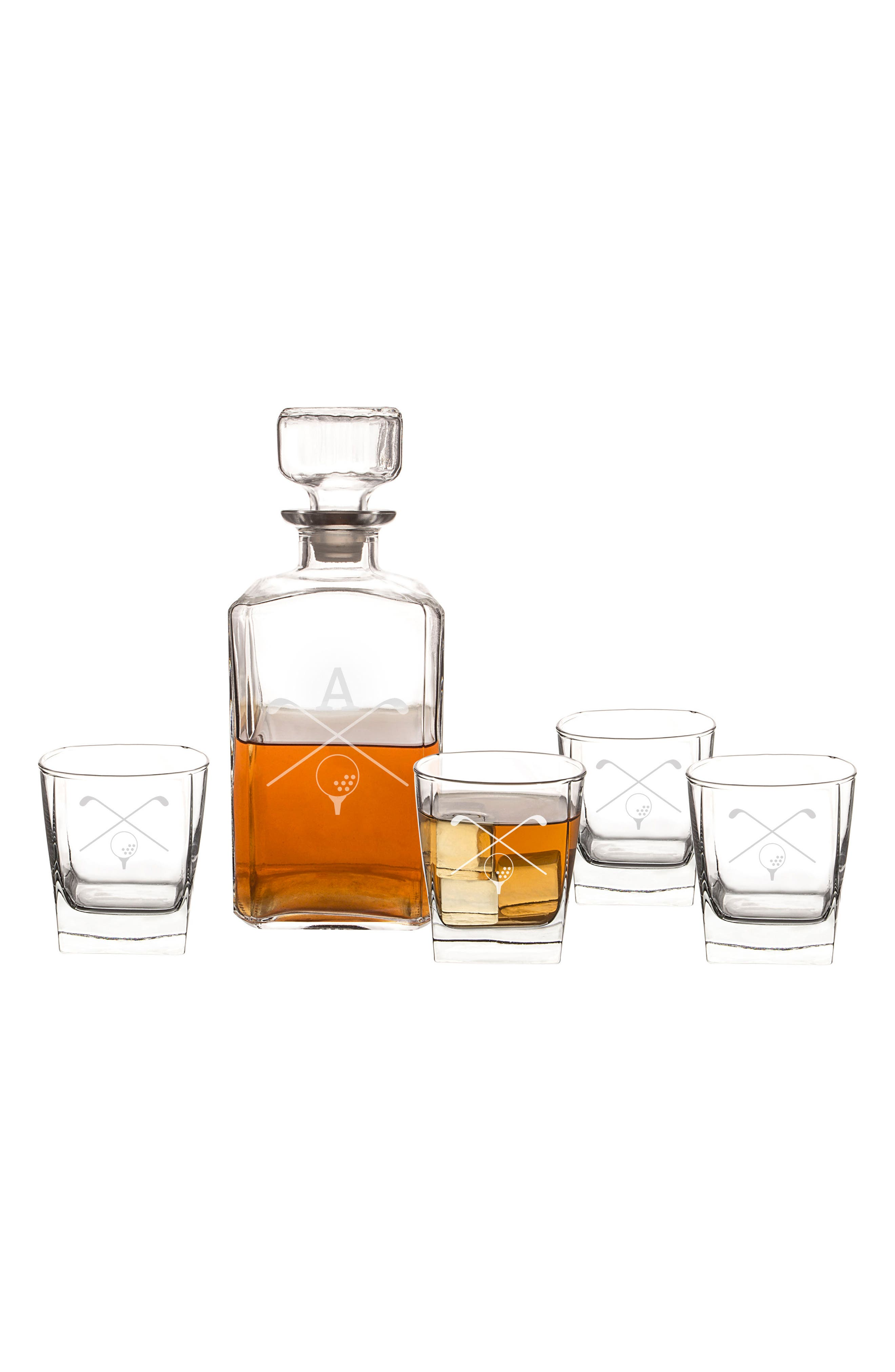 Cathy's Concepts Monogram Golf 5-Piece Decanter Set
