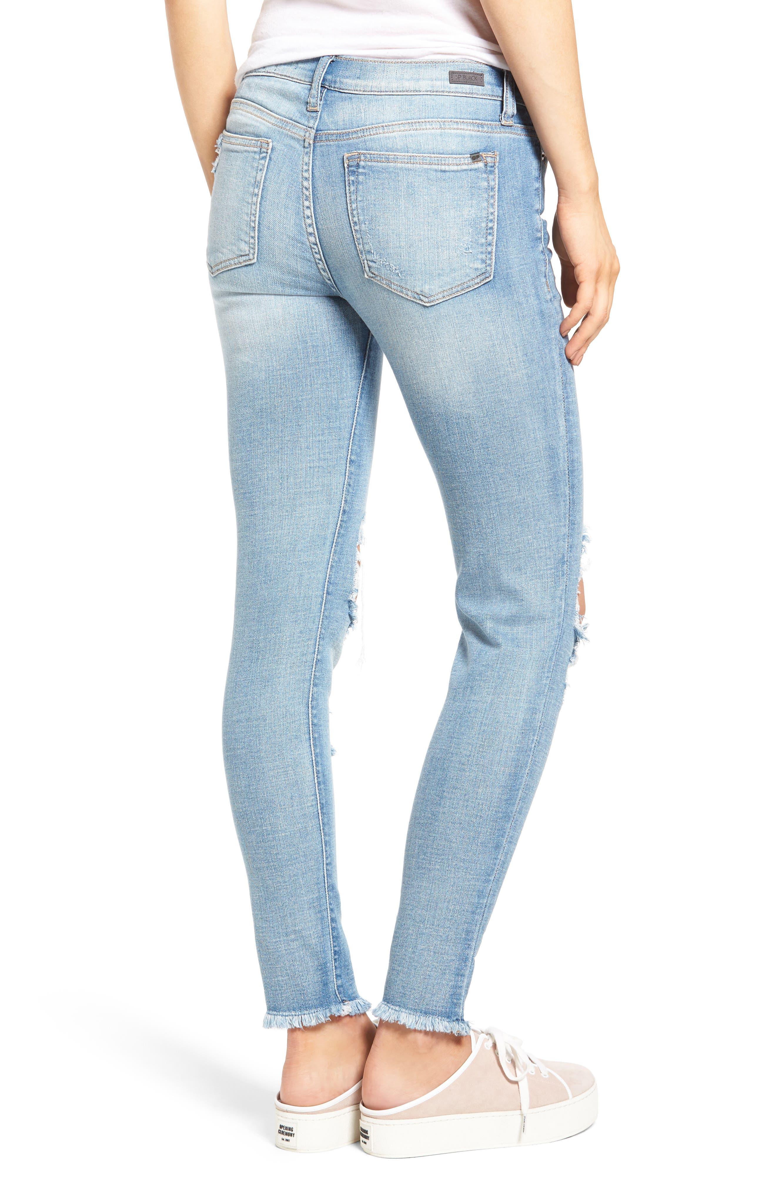 Alternate Image 2  - SP Black Ripped Knee Skinny Jeans
