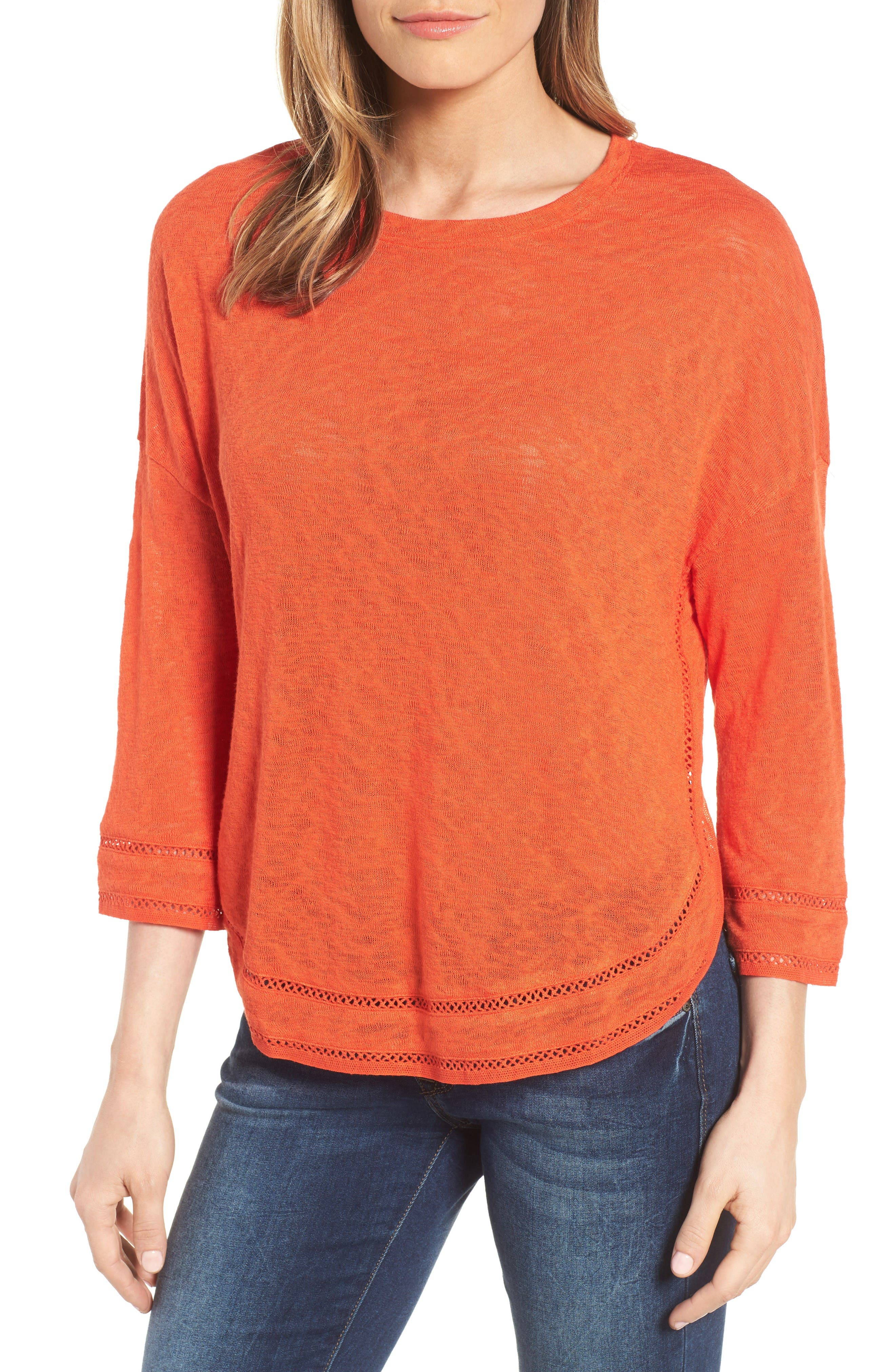 Caslon® Shirttail Hem Knit Pullover (Regular & Petite)