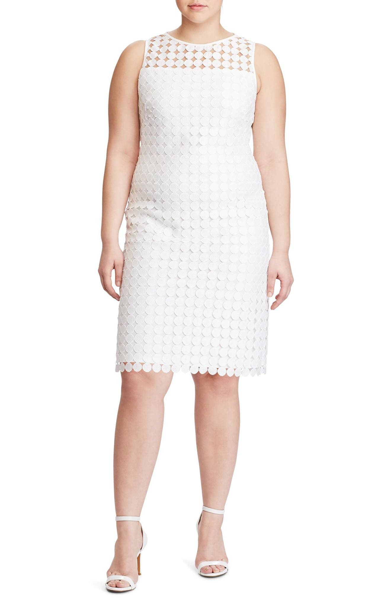 Lauren Ralph Lauren Dot Lace Sheath Dress (Plus Size)